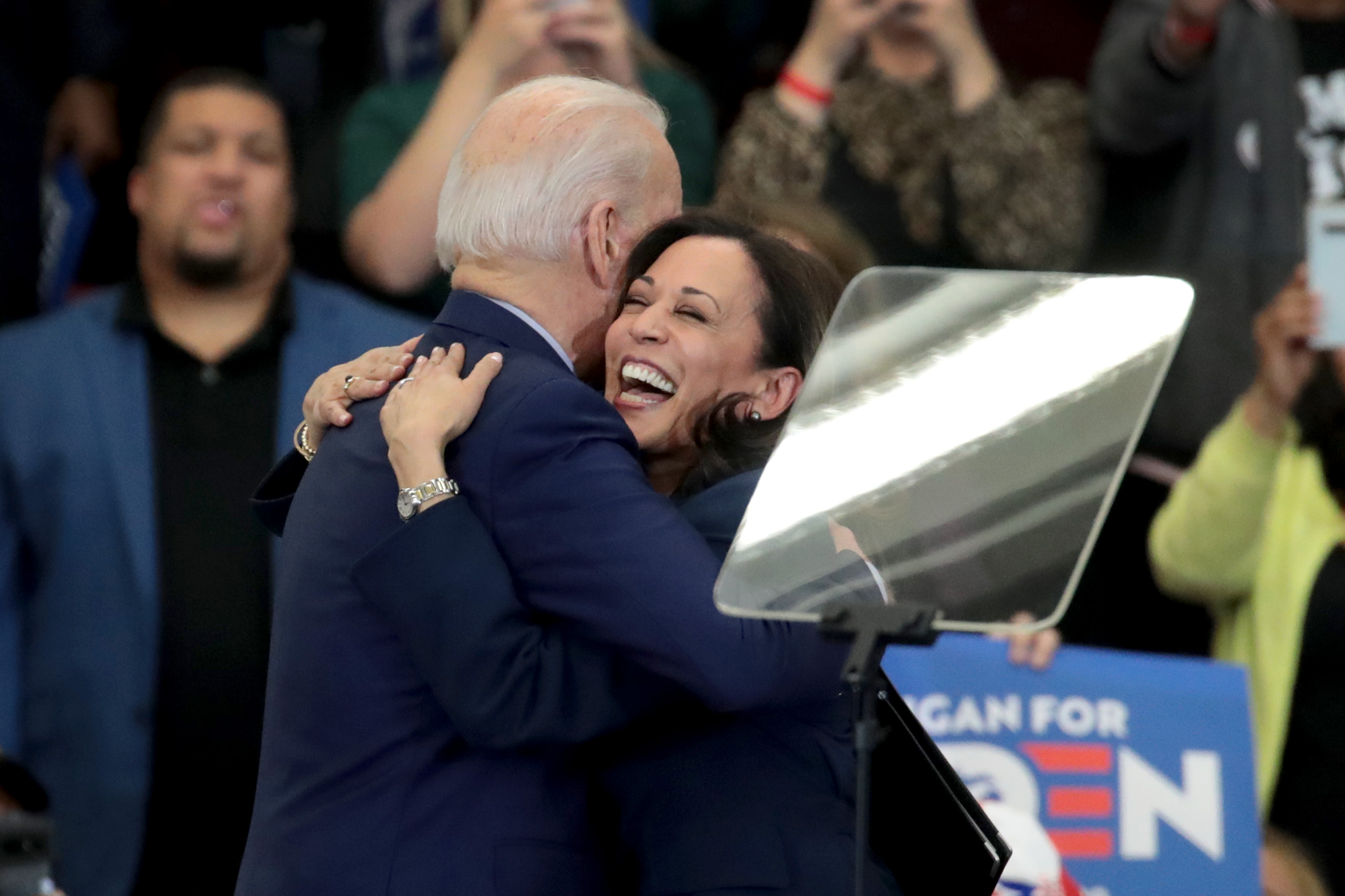 Sen. Kamala Harris hugs Democratic presidential candidate former Vice President Joe Biden after introducing him at a campaign rally at Renaissance High School on March 09, 2020 in Detroit, Michigan. (Scott Olson/Getty Images)