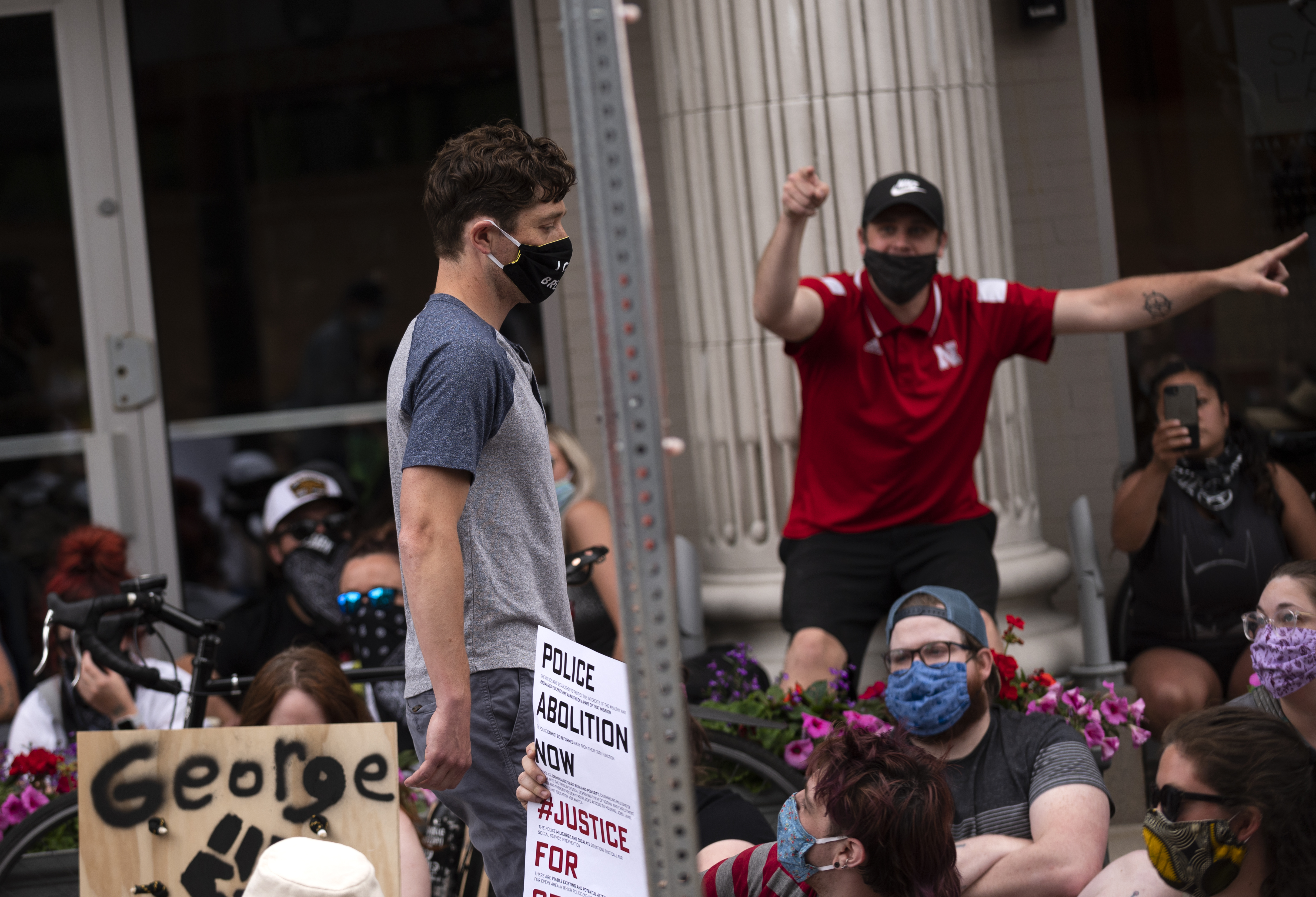 Minneapolis Mayor Jacob Frey leaves a demonstration calling for the Minneapolis Police Department to be defunded on June 6, 2020 in Minneapolis, Minnesota. Mayor Frey declined when he was asked if he would fully defund the police and was then asked to leave the protest. (Photo by Stephen Maturen/Getty Images)