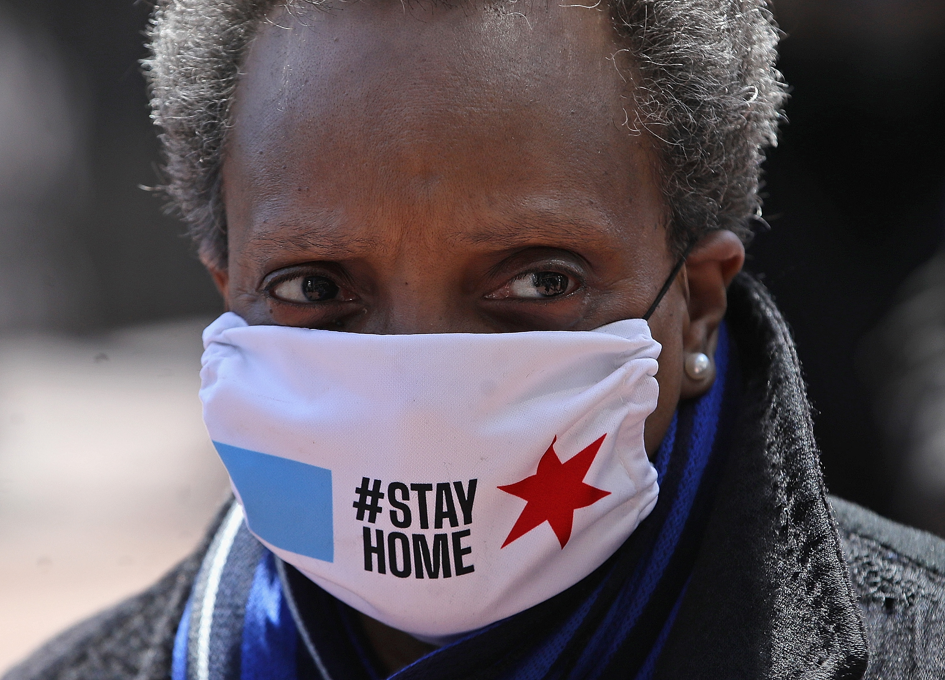 CHICAGO, ILLINOIS - APRIL 16: Chicago mayor Lori Lightfoot arrives at Wrigley Field on April 16, 2020 in Chicago Illinois. Wrigley Field has been converted to a temporary satellite food packing and distribution center in cooperation with the Lakeville Food Pantry to support ongoing relief efforts underway in the city as a result of the COVID-19 pandemic. (Jonathan Daniel/Getty Images)