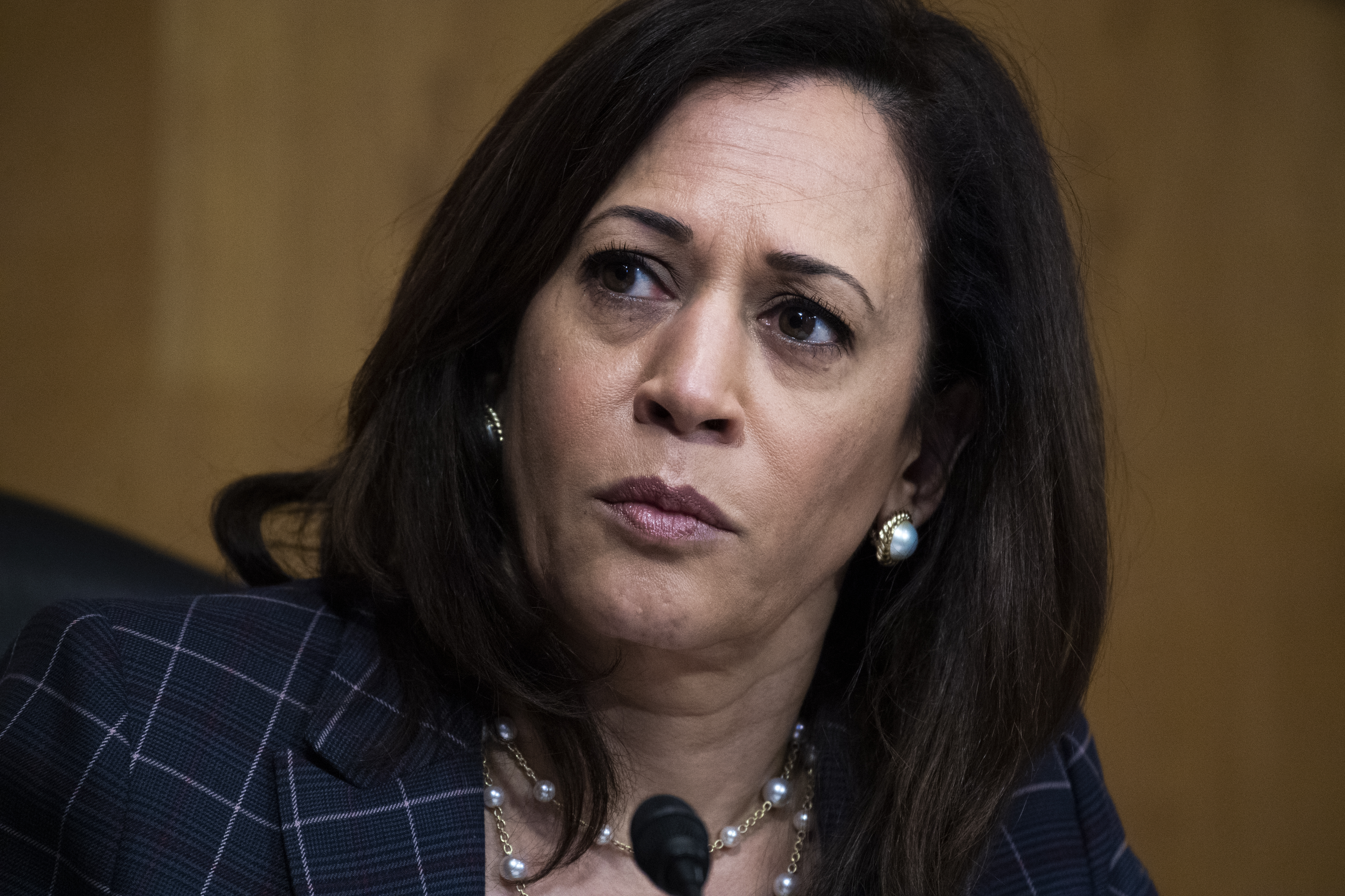 "WASHINGTON, DC - JUNE 25: Sen. Kamala Harris (D-CA) attends the Senate Homeland Security and Governmental Affairs Committee hearing titled ""CBP Oversight: Examining the Evolving Challenges Facing the Agency"" in Dirksen Senate Office Building on June 25, 2020 in Washington, DC. Mark A. Morgan, acting commissioner of the U.S. Customs and Border Protection, testified. (Photo by Tom Williams-Pool/Getty Images)"