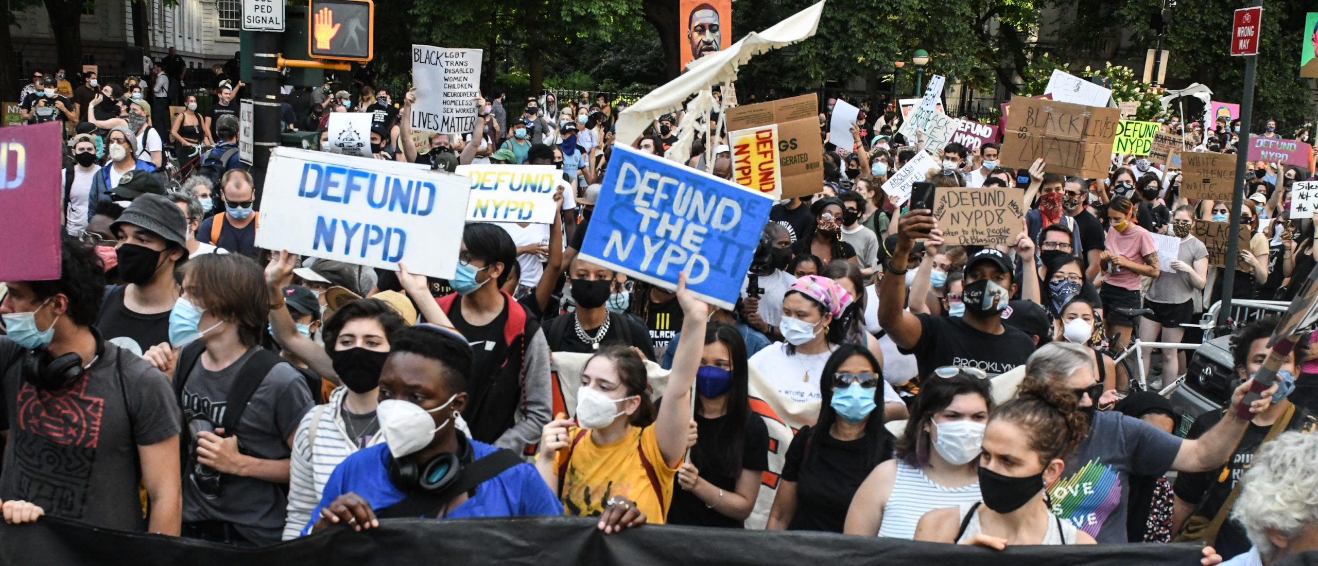 People begin a march out of a protest encampment on June 25, 2020 in a park near City Hall in New York City. Demonstrators advocating for the New York City Police Department to be defunded by $1 billion have been camped out for two nights. (Photo by Stephanie Keith/Getty Images)