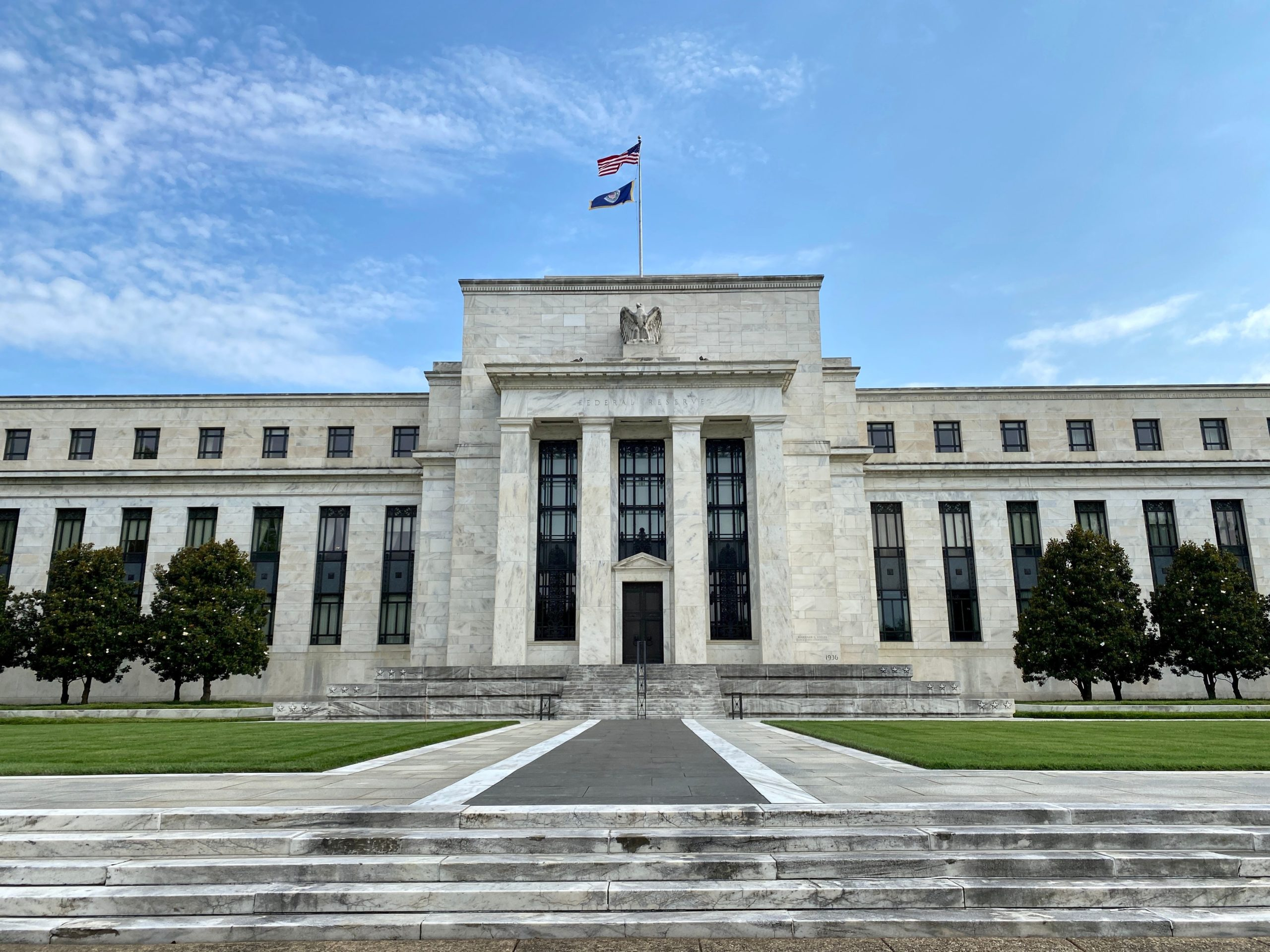 The Federal Reserve Board building is viewed on July 1, 2020 in Washington,DC. - The world's largest economy is showing signs it is rebounding faster than expected from the damage inflicted by the coronavirus pandemic, but US officials on June 30, 2020 signaled more aid may be needed to solidify the comeback. (DANIEL SLIM/AFP via Getty Images)