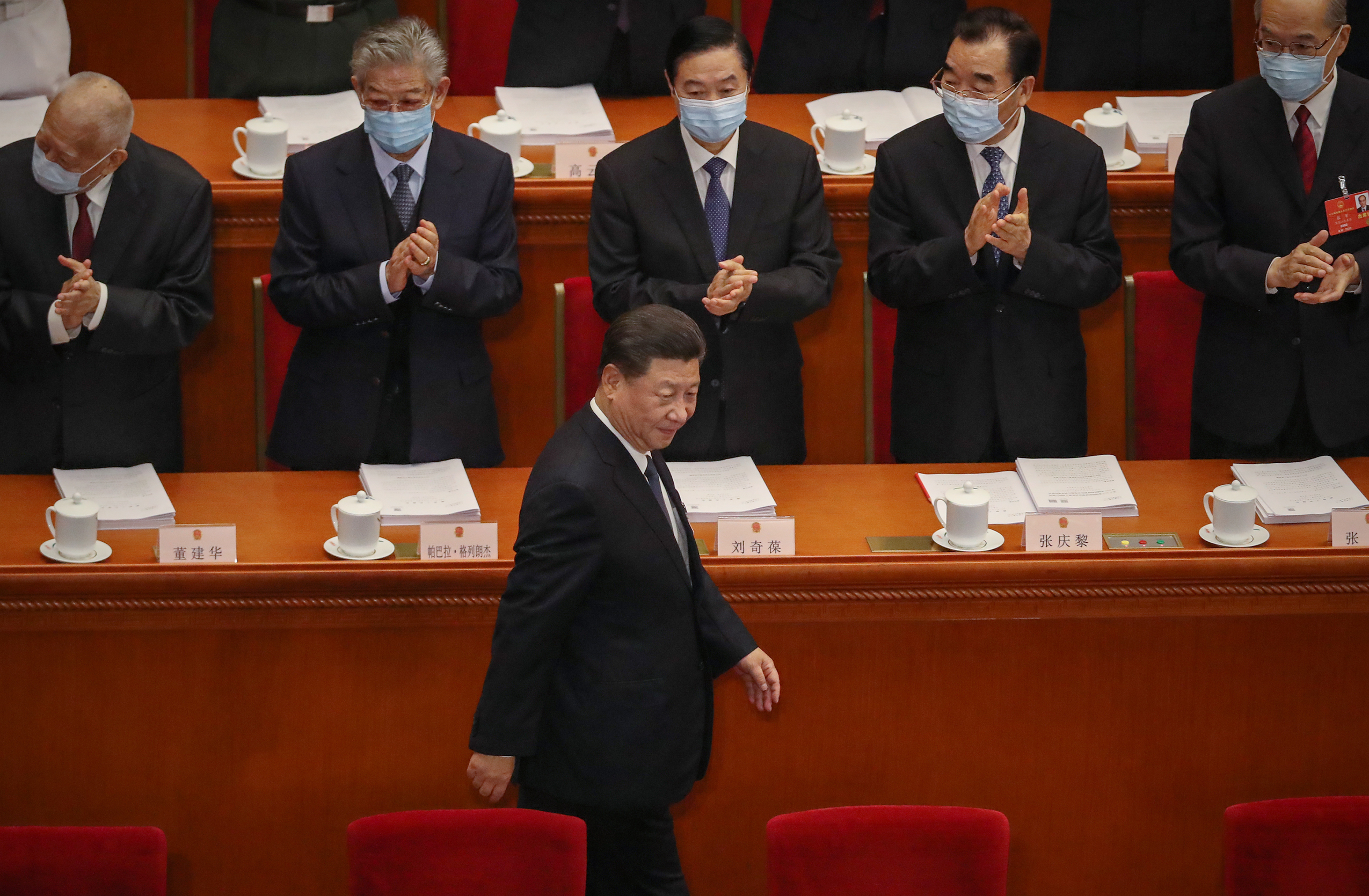 BEIJING, CHINA - MAY 22: Chinese President Xi Jinping arrives at The Great Hall of the People for the opening of the National People's Congress on May 22, 2020 in Beijing, China. China is holding now its annual Two Sessions political meetings, that were delayed since March due to the Covid19 outbreak. (Photo by Andrea Verdelli/Getty Images)