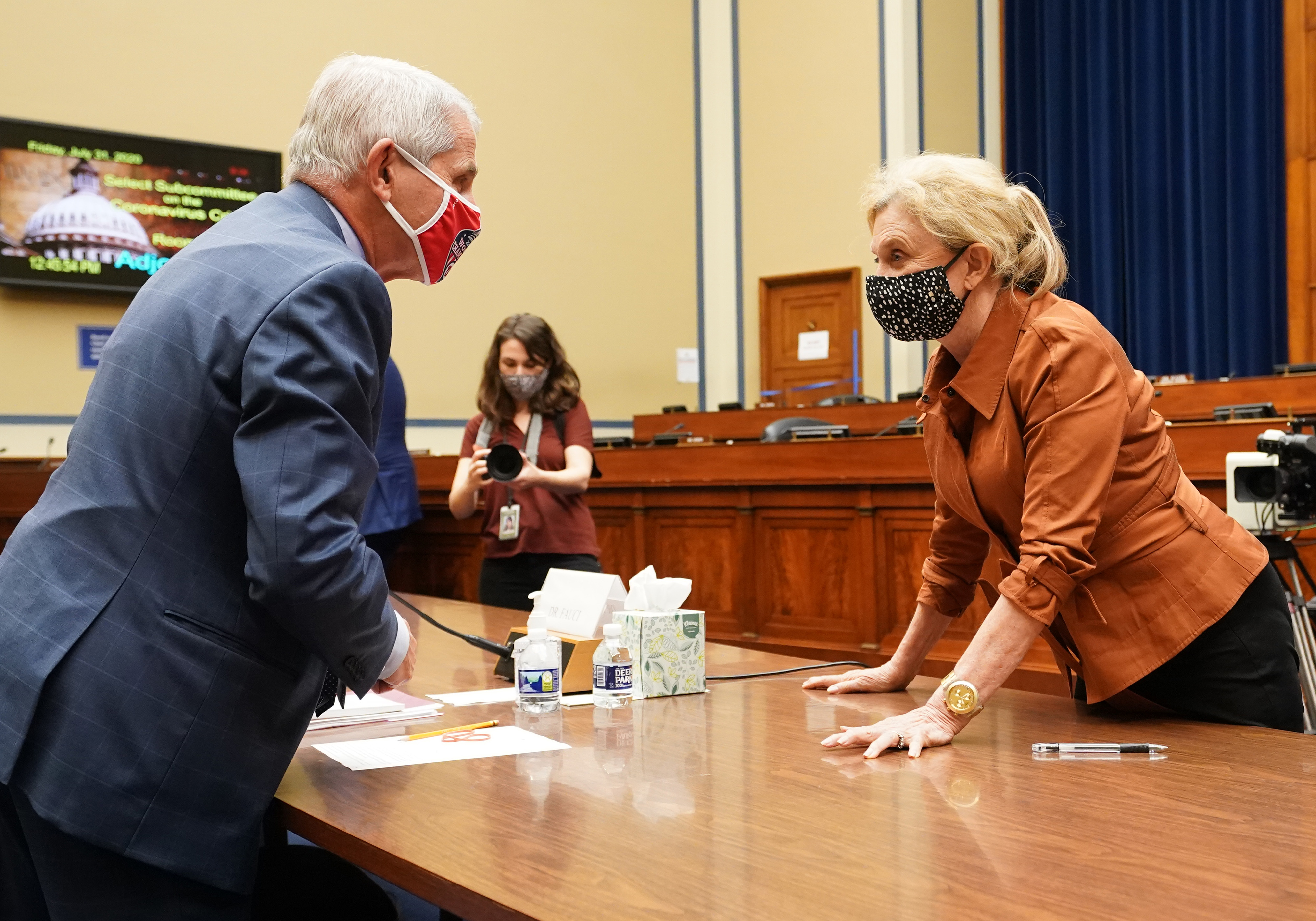 Rep. Carolyn Maloney talks to Dr. Anthony Fauci after a coronavirus hearing on July 31, 2020 in Washington, DC. (Kevin Dietsch-Pool/Getty Images)
