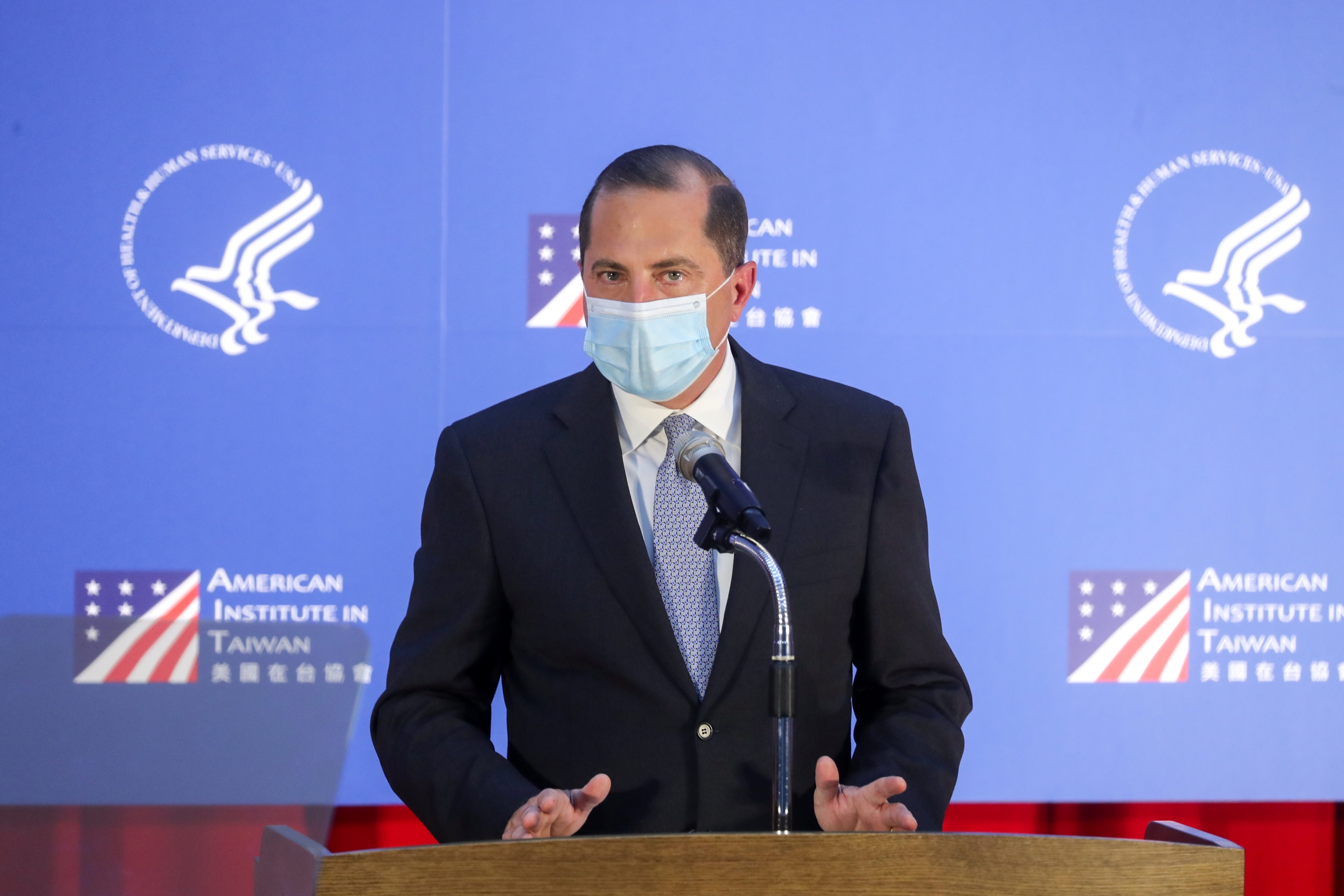 US Secretary of Health and Human Services Alex Azar (R) makes a speech at the public health college of the National Taiwan University (NTU) in Taipei on August 11, 2020. (Photo by PEI CHEN/POOL/AFP via Getty Images)