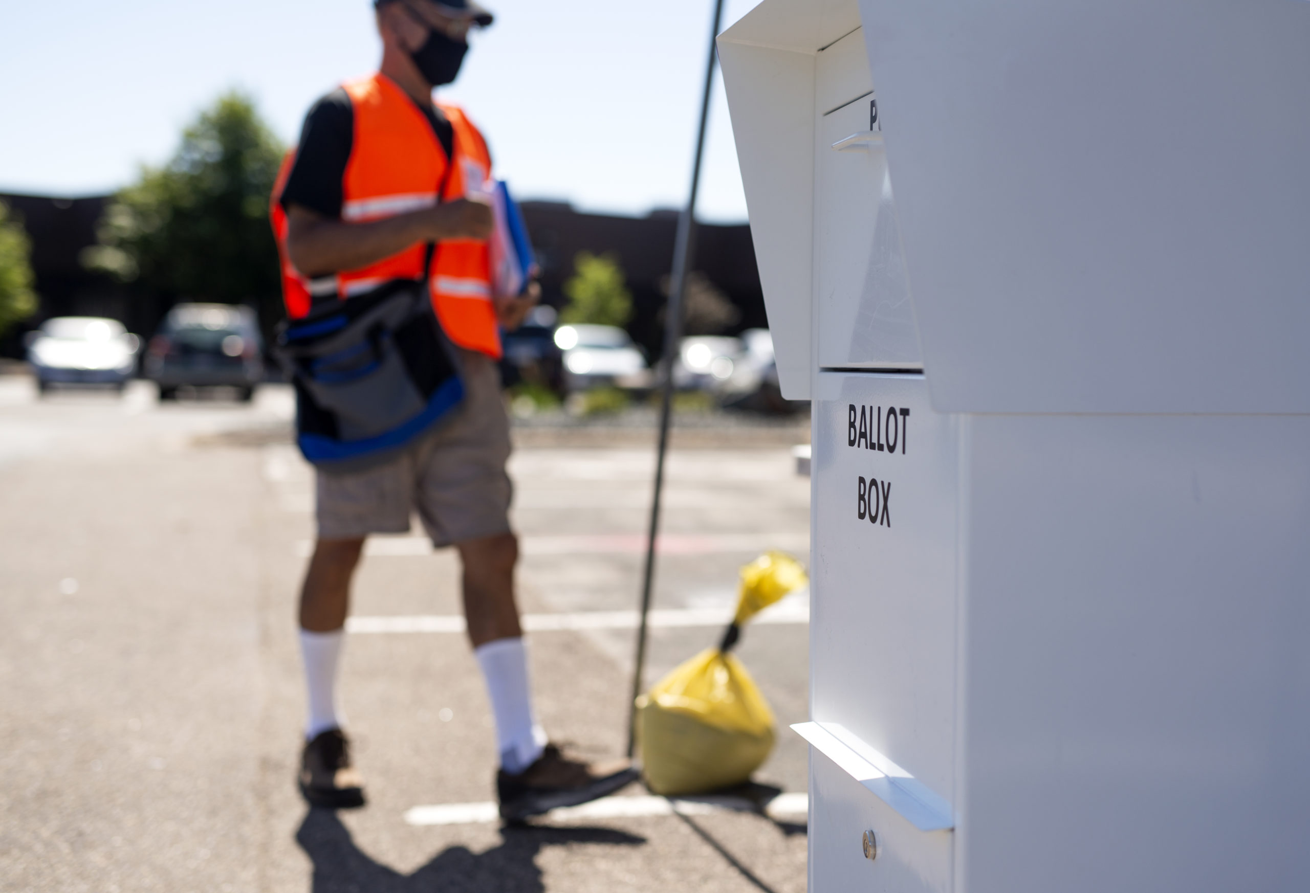MINNEAPOLIS, MN - AUGUST 11: A ballot box stands at a drive through drop-off for absentee ballots on August 11, 2020 in Minneapolis, Minnesota. Voters in Minneapolis were able to drop off their mail-in ballots in person at two different locations, which were made available temporarily to assuage fears of delay in USPS delivery. (Photo by Stephen Maturen/Getty Images)