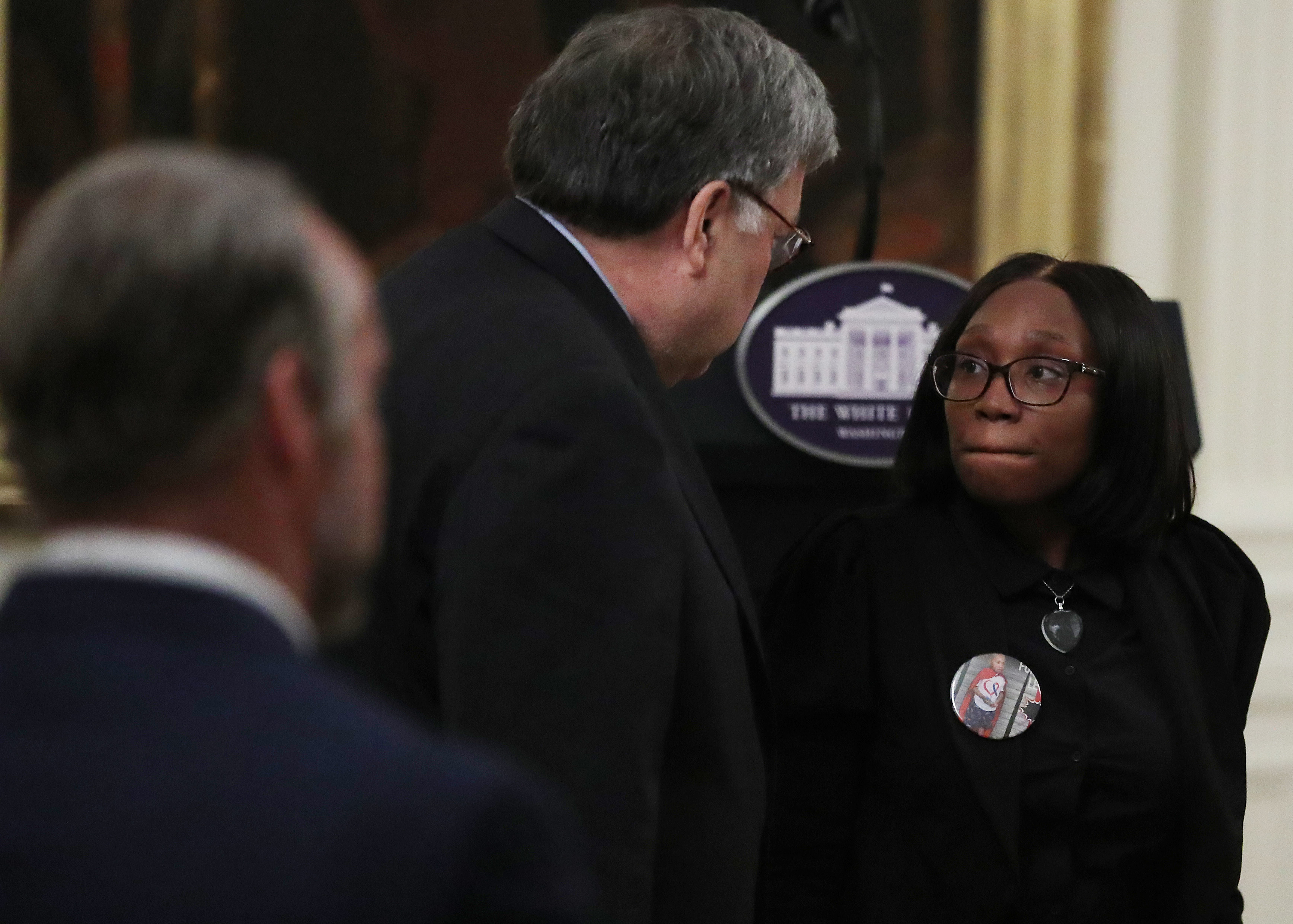 U.S. Attorney General William Barr speaks with Charron Powell following an event about 'Operation Legend' at the White House July 22, 2020 (Photo by Chip Somodevilla/Getty Images)