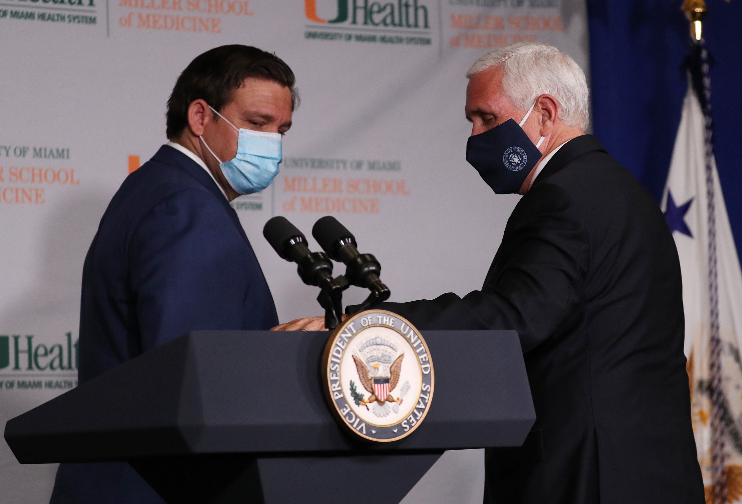 Vice President Mike Pence and Florida Gov. Ron DeSantis leave after participating in a press conference at the the University of Miami Miller School of Medicine on July 27, 2020 in Miami, Florida. (Joe Raedle/Getty Images)