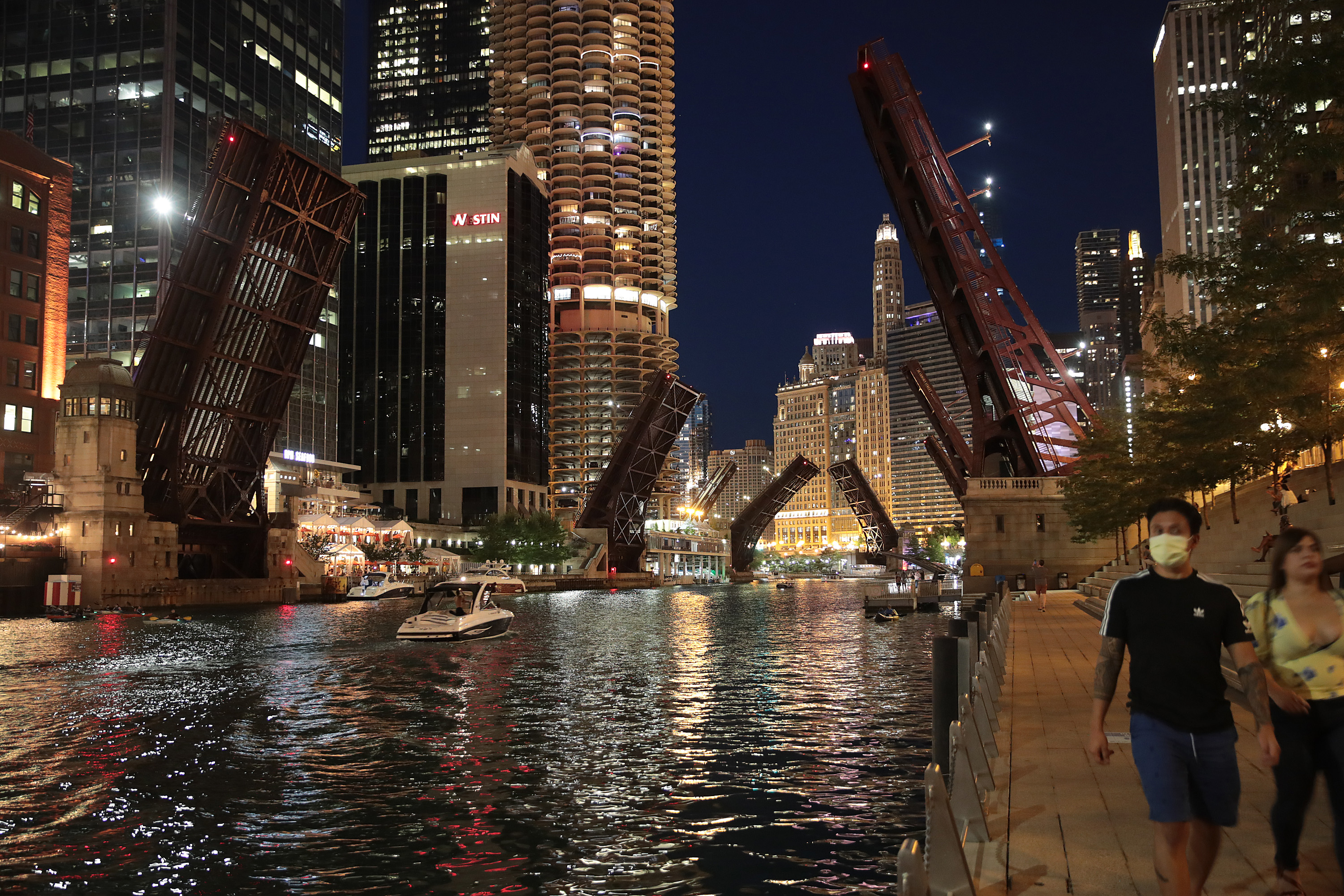 CHICAGO, ILLINOIS - AUGUST 12: Bridges across the Chicago river are raised to control access into downtown after widespread looting broke out early Monday in the city on August 12, 2020 in Chicago, Illinois. City officials say they will continue raise the bridges and take other measures to control access to and from downtown at least through the weekend. (Photo by Scott Olson/Getty Images)