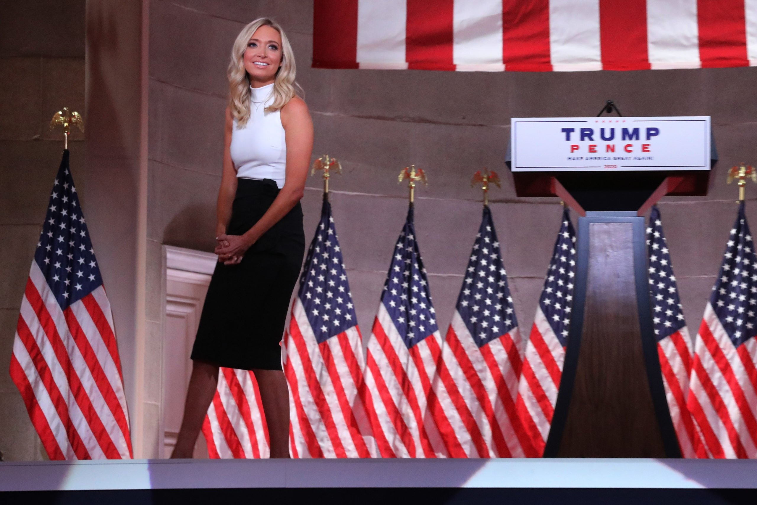 WASHINGTON, DC - AUGUST 26: White House Press Secretary Kayleigh McEnany walks off the stage after pre-recording her address to the Republican National Convention from inside an empty Mellon Auditorium on August 26, 2020 in Washington, DC. The novel coronavirus pandemic has forced the Republican Party to move away from an in-person convention to a televised format, similar to the Democratic Party's convention a week earlier. (Photo by Chip Somodevilla/Getty Images)