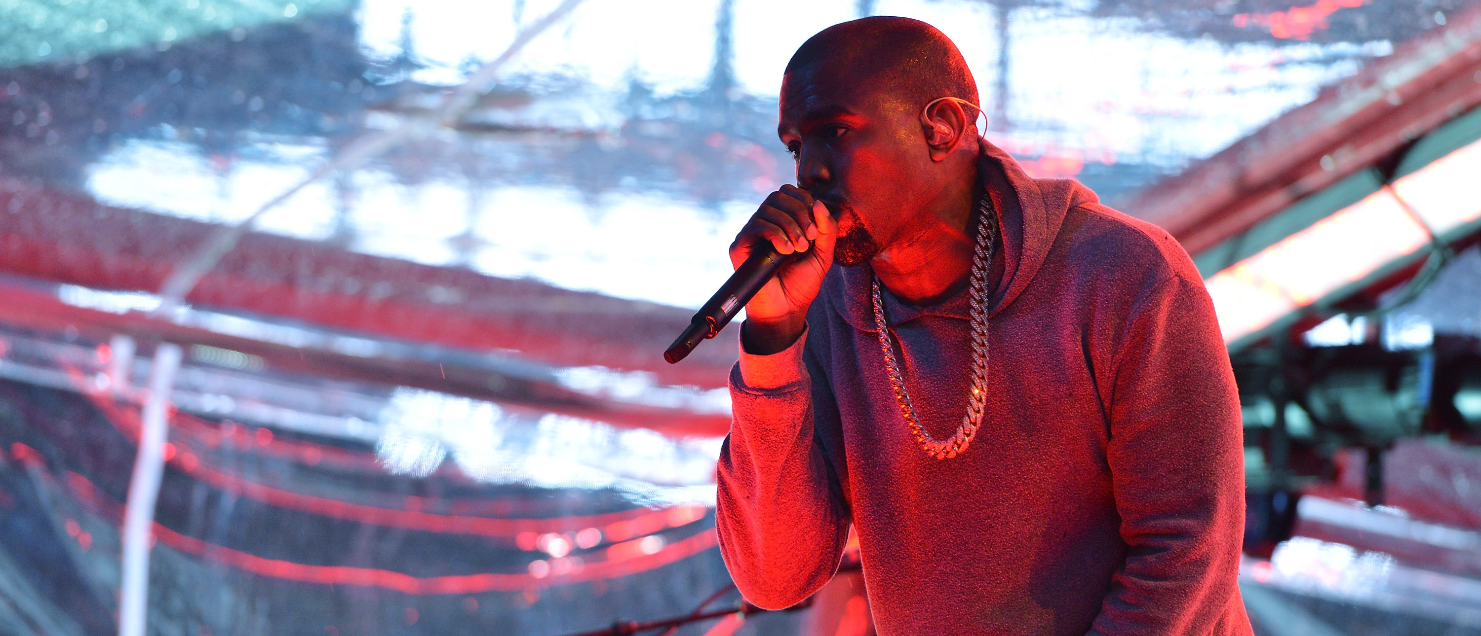 NEW YORK, NY - DEC. 01: Rapper Kanye West performs on World AIDS Day at 'A (RED) Thank You,' presented by (Bank of America) RED on Dec. 1, 2014 in New York City. (Photo by Slaven Vlasic/Getty Images for (RED))