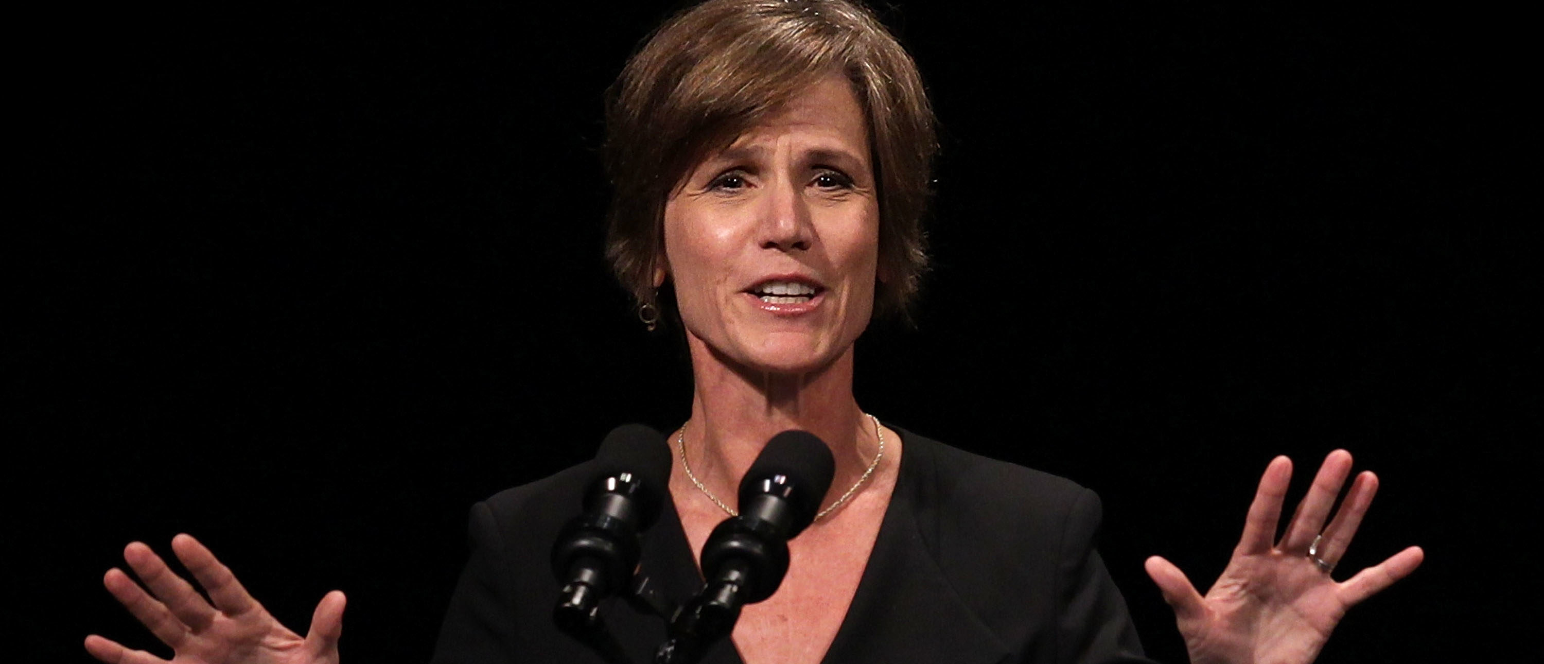 WASHINGTON, DC - JUNE 17: U.S. Deputy Attorney General Sally Yates speaks during a formal investiture ceremony for Attorney General Loretta Lynch June 17, 2015 at the Warner Theatre in Washington, DC. Lynch was officially sworn in by Vice President Joe Biden as the 83rd Attorney General of the United States on April 27, 2015. She is the first African-American woman to serve in the position. (Photo by Alex Wong/Getty Images)