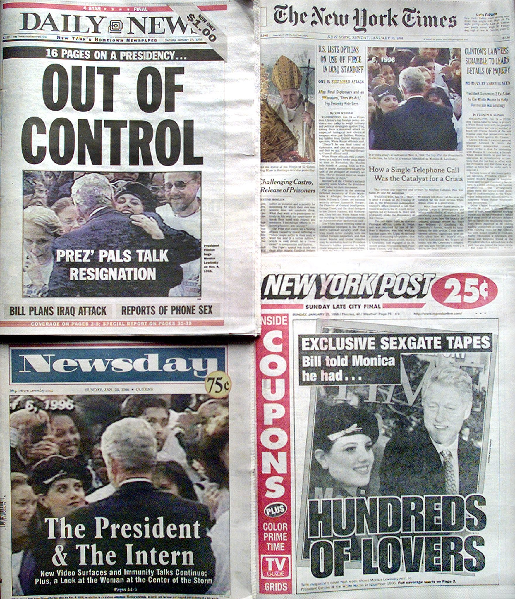 The front pages of all four daily New York Sunday newspapers display headlines and photographs 25 January about the White House scandal of President Bill Clinton's alleged involvement with White House intern Monica Lewinsky. (AFP/AFP via Getty Images)