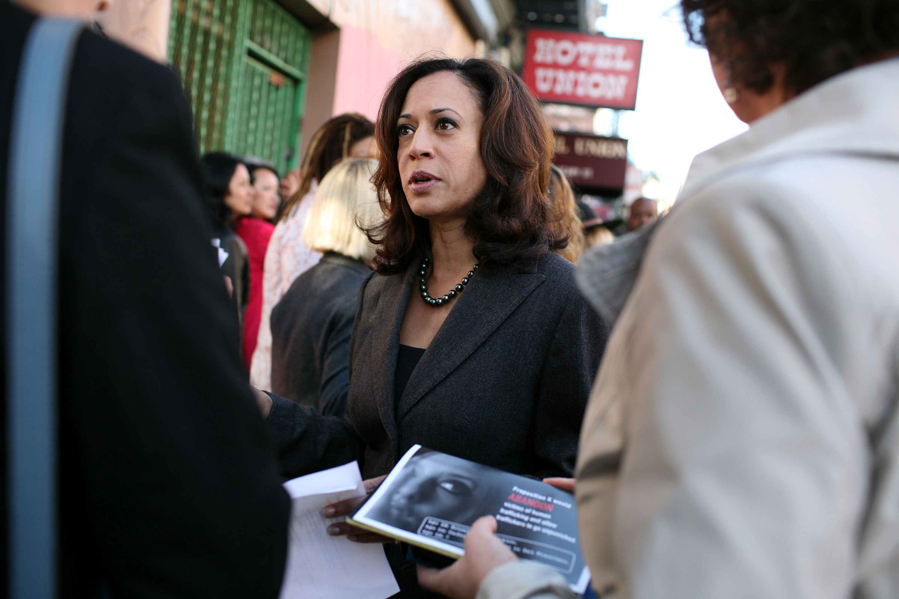 Kamala Harris, then district attorney of San Francisco, speaks to supporters before a press conference October 29, 2008 in San Francisco, California.(Justin Sullivan/Getty Images)
