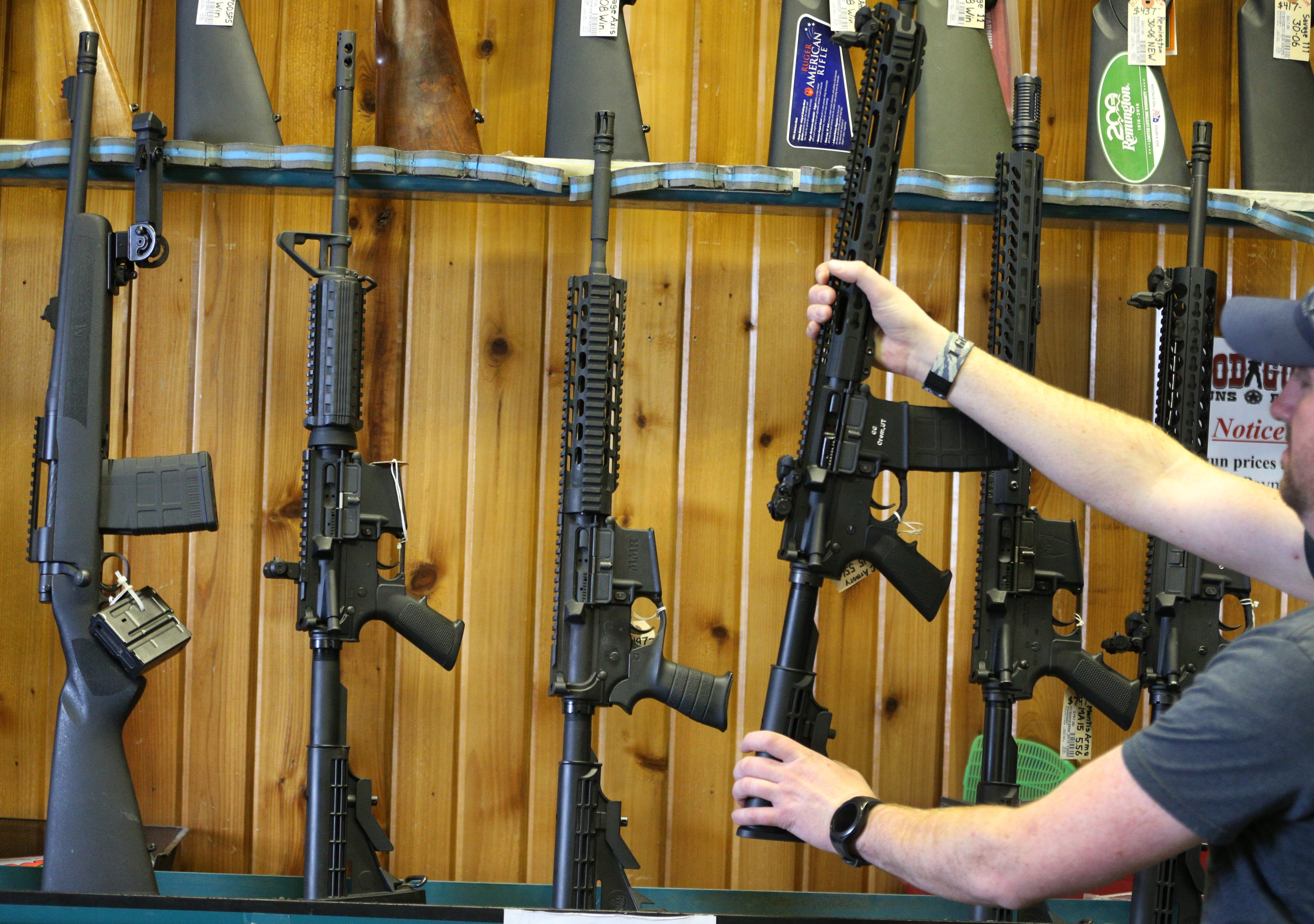 OREM, UT - FEBRUARY 15: Semi-automatic AR-15's are for sale at Good Guys Guns & Range on February 15, 2018 in Orem, Utah. An AR-15 was used in the Marjory Stoneman Douglas High School shooting in Parkland, Florida. (George Frey/Getty Images)