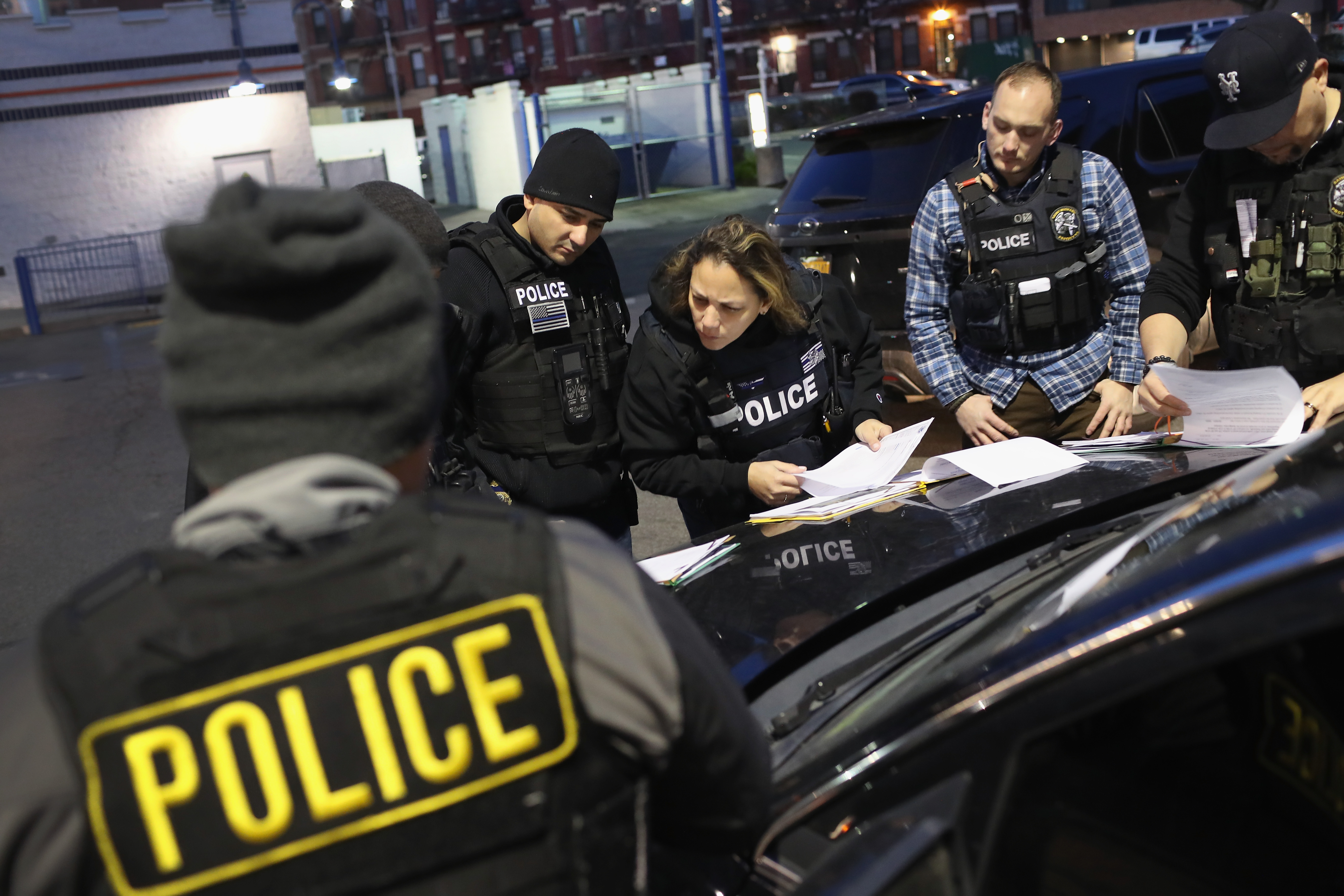 NEW YORK, NY - APRIL 11: U.S. Immigration and Customs Enforcement (ICE), officers prepare for morning raids to arrest undocumented immigrants on April 11, 2018 in New York City. ICE detentions are frequently controversial in New York, considered a