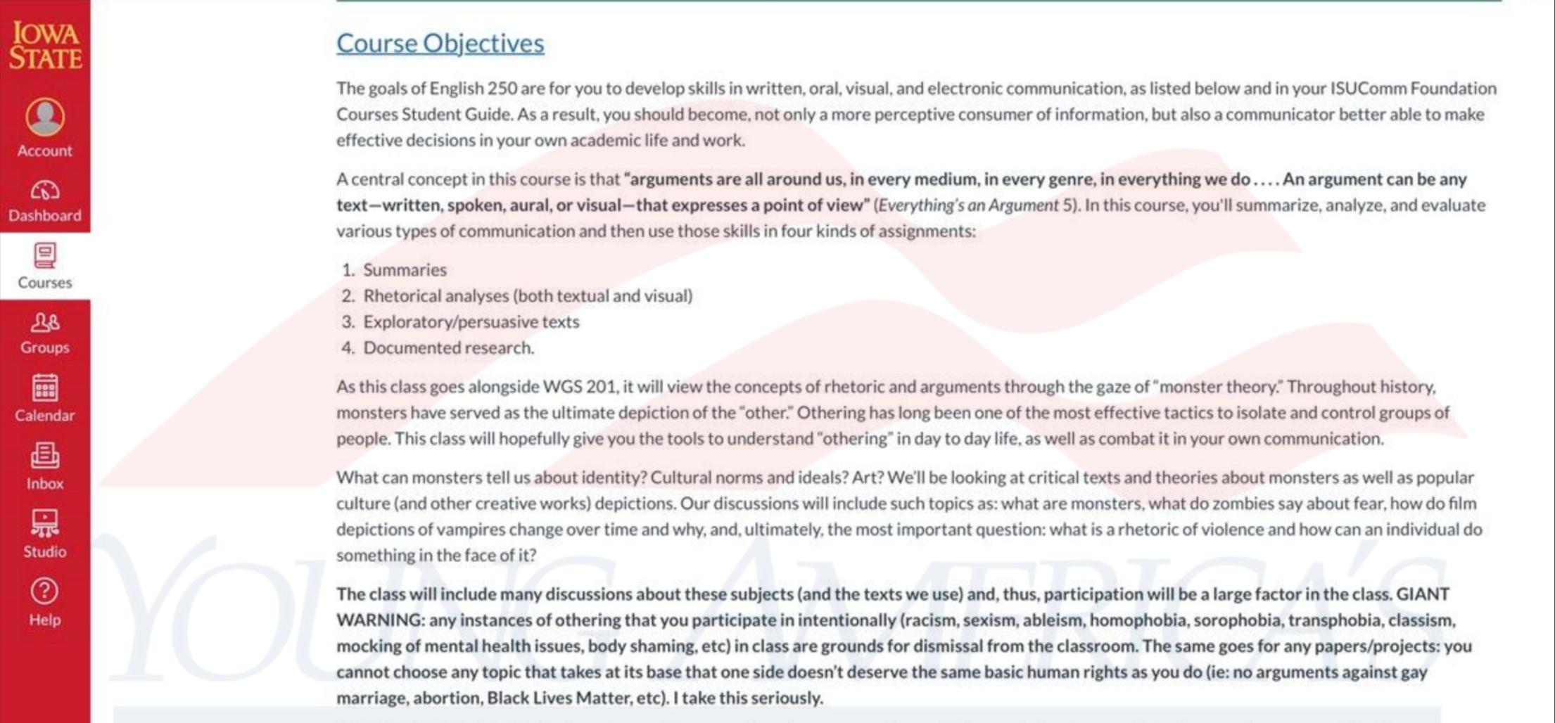 Screenshot of syllabus courtesy of YAF.