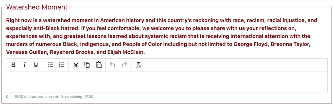 University of Minnesota application question (University of Minnesota Medical School application/screenshot).