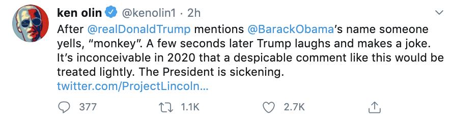 "Ken Onlin's deleted tweet accusing RNC attendee of calling President Obama a ""monkey"" [Twitter/Screenshot/Public--User: @kenolin1]"