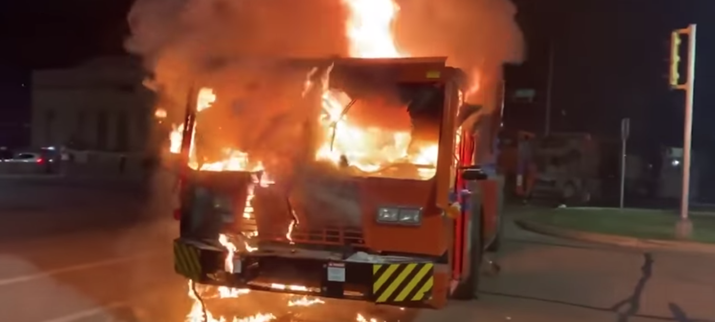 protests, riots, looting, Wisconsin, firetruck, fire