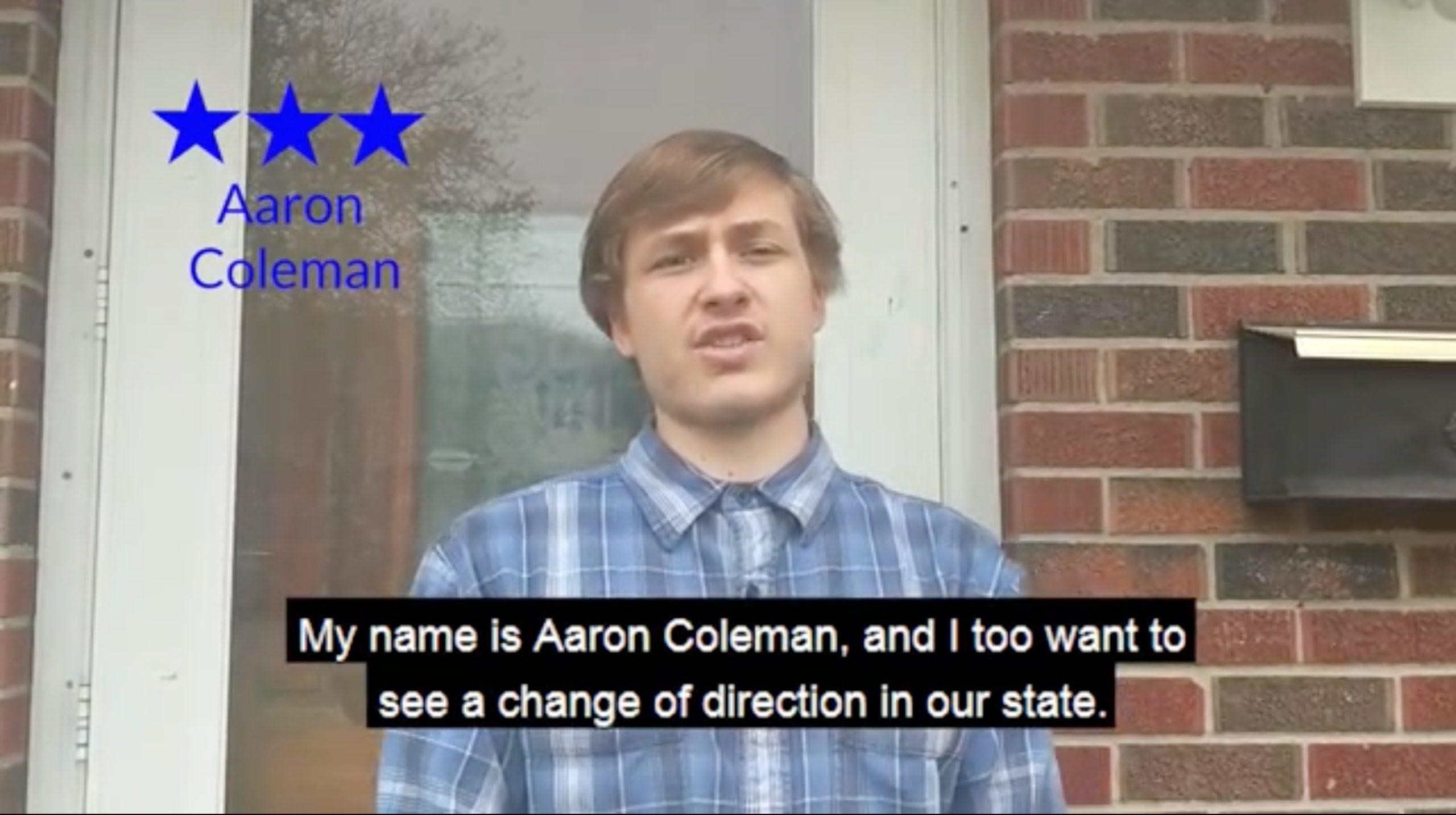 Aaron Coleman, 19, speaks in a April 27 campaign video. (Aaron Coleman/Video screenshot/YouTube)