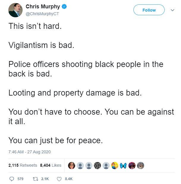 Sen. Chris Murphy's deleted tweet condemning looting. (Screenshot/Twitter)