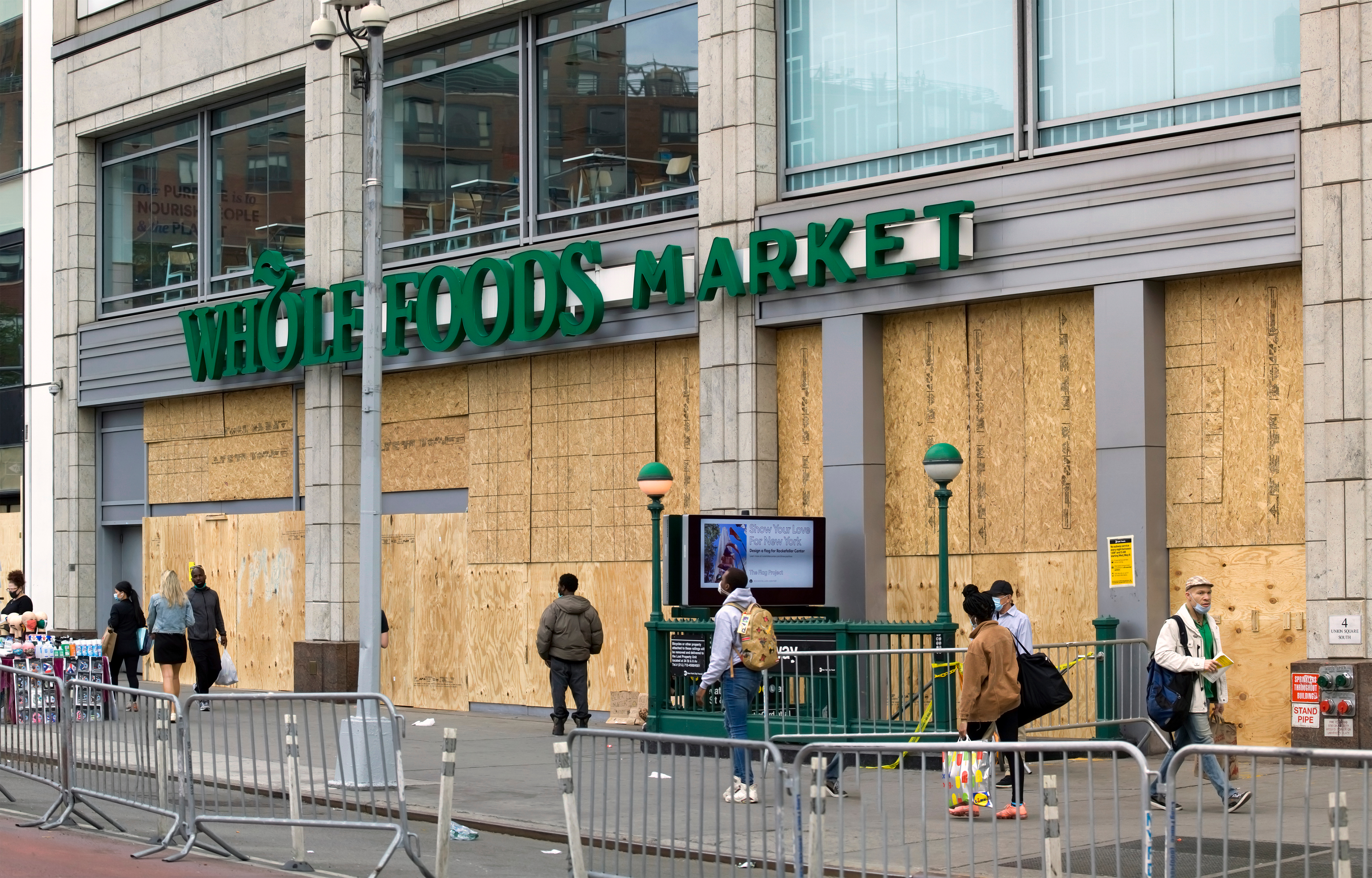 A Whole Foods Market is boarded up to prevent looting during George Floyd protests in New York City on June 2. (Eddtoro/Shutterstock)