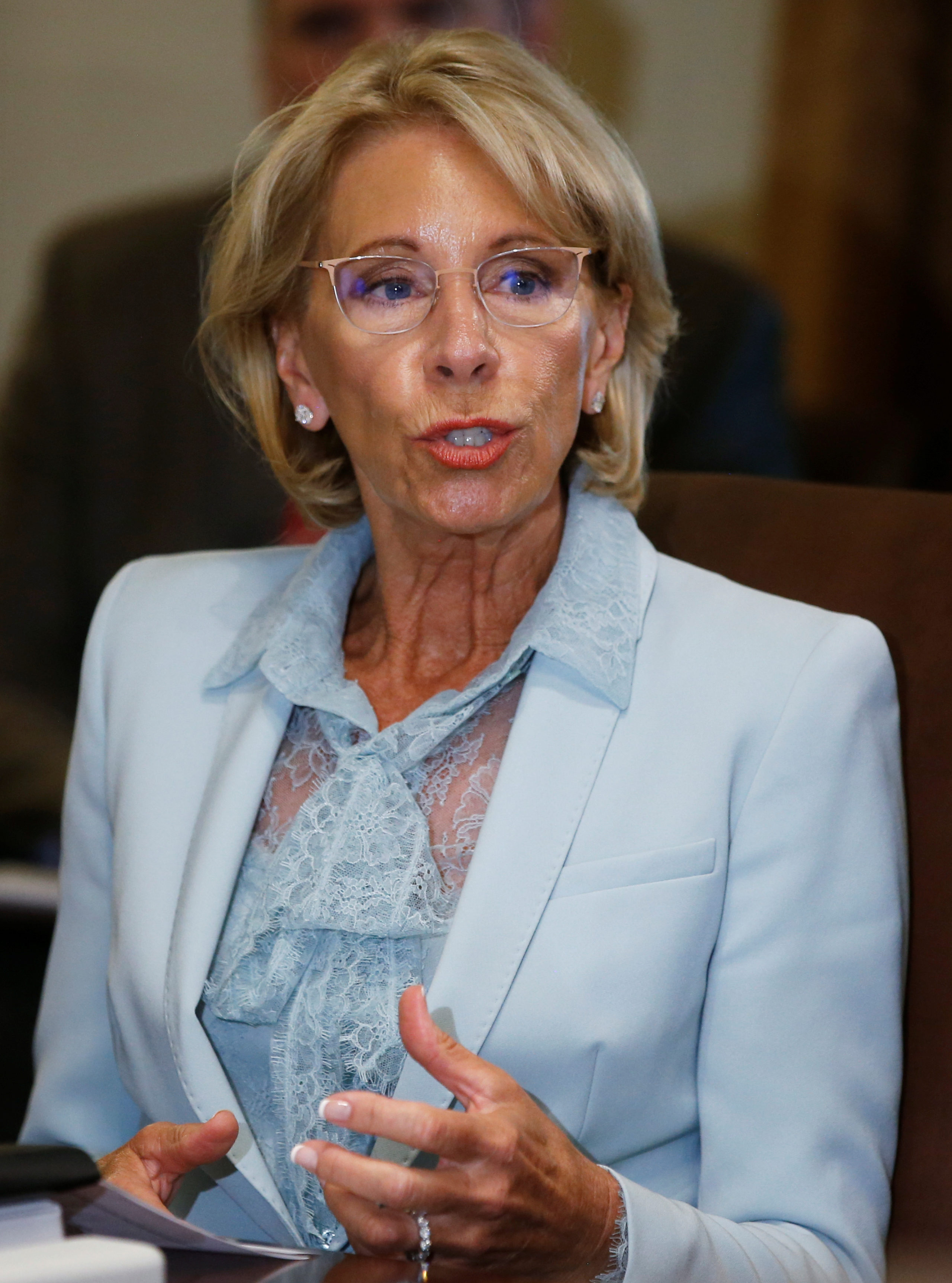 U.S. Education Secretary Betsy Devos attends a cabinet meeting at the White House in Washington, U.S., July 18, 2018. REUTERS/Leah Millis