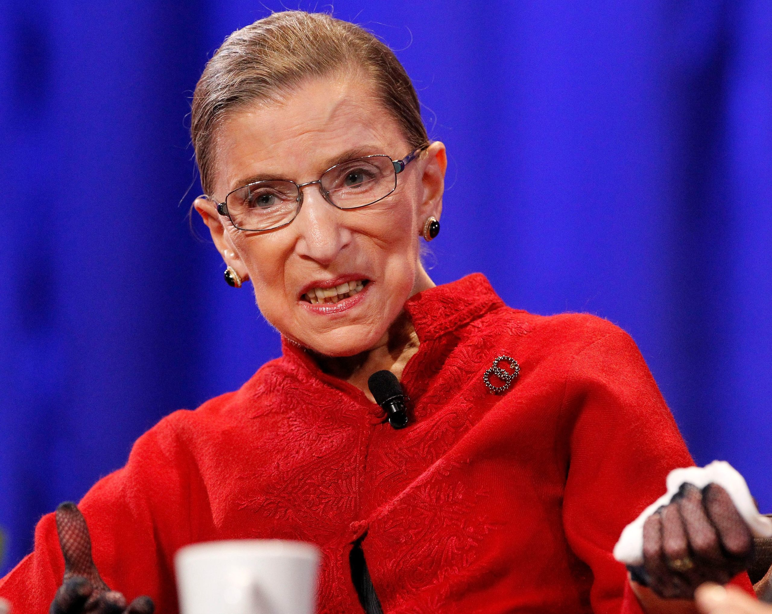 "Associate Justice Ruth Bader Ginsburg speaks during the lunch session of ""The Women's Conference 2010"" in Long Beach, California October 26, 2010. REUTERS/Mario Anzuoni/File Photo"