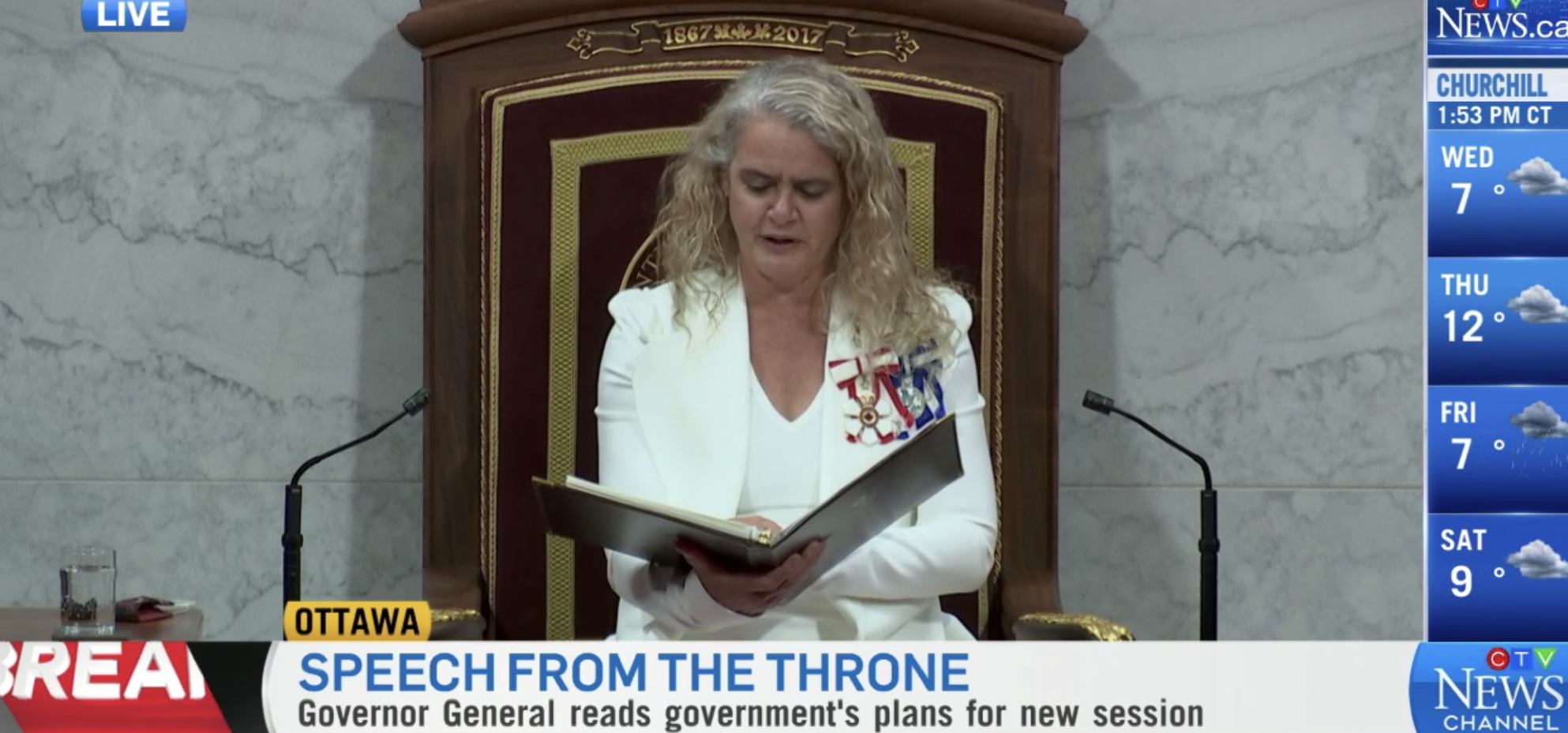 Canadian Gov. Gen. Julie Payette reads the Speech from the Throne from the Senate Chamber in Canada's Parliament, Sept. 23, 2020. CTV News screenshot