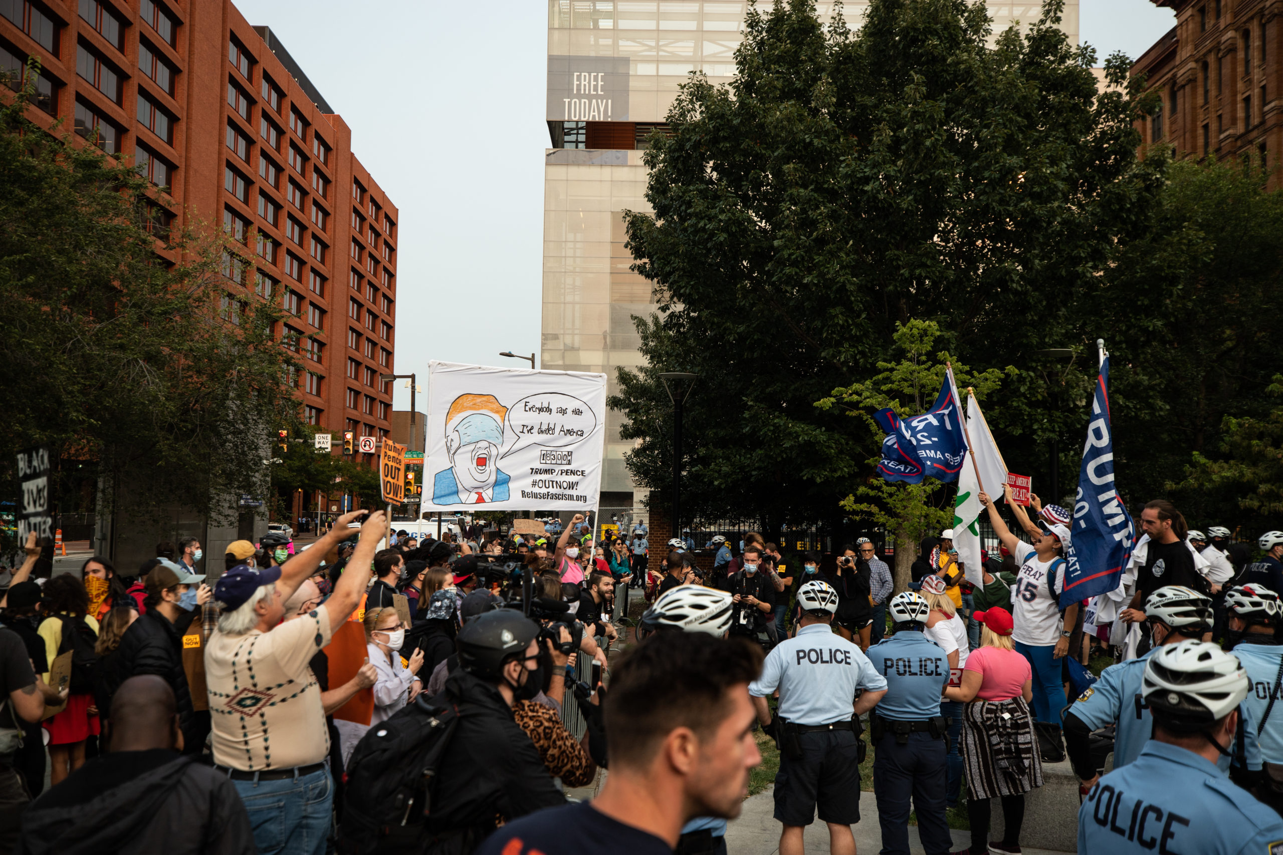Protesters confront Trump supporters in Philadelphia, Pennsylvania on Sept. 15, 2020. (Photo: Kaylee Greenlee / DCNF)