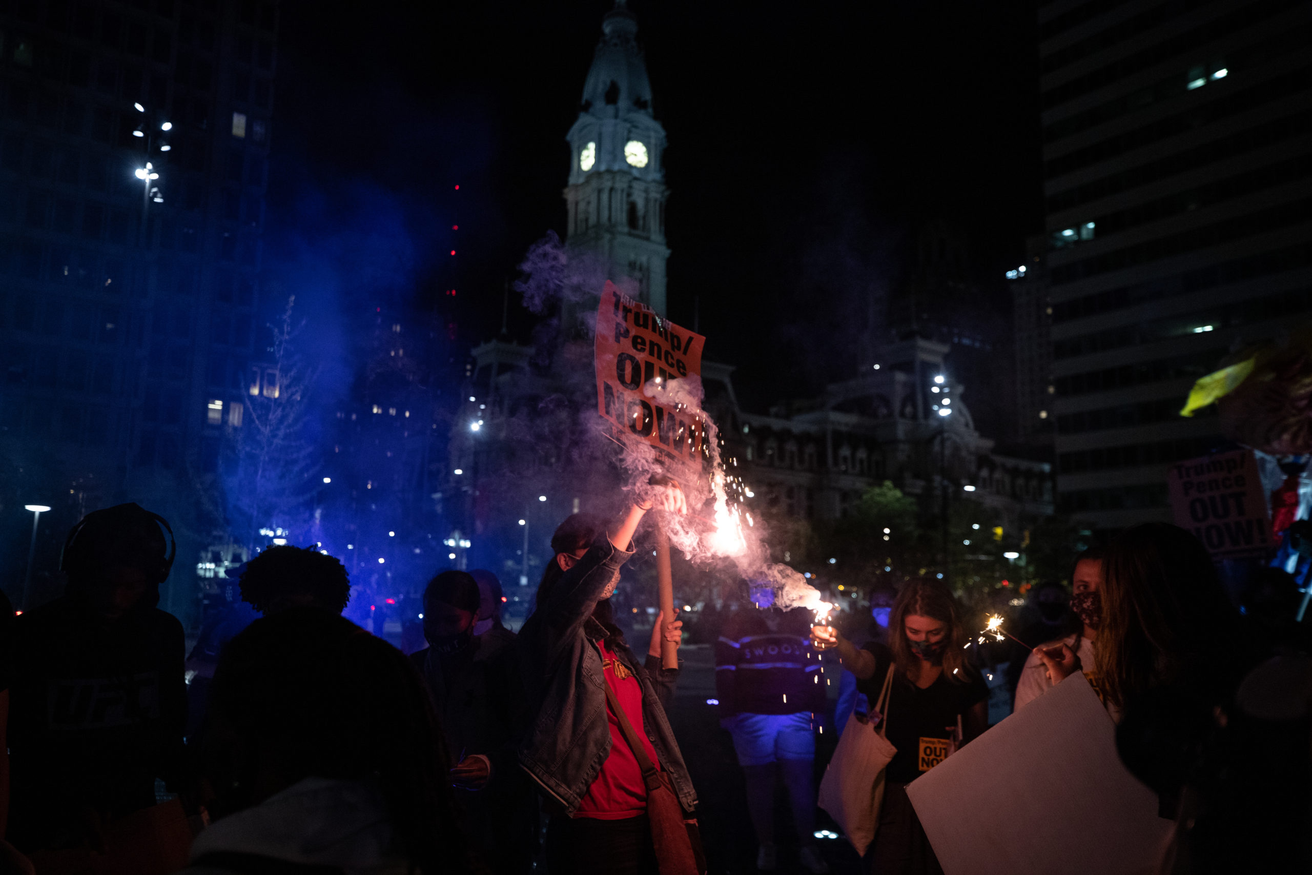 Protesters light sparklers near City Hall in Philadelphia, Pennsylvania on Sept. 15, 2020. (Photo: Kaylee Greenlee / DCNF)