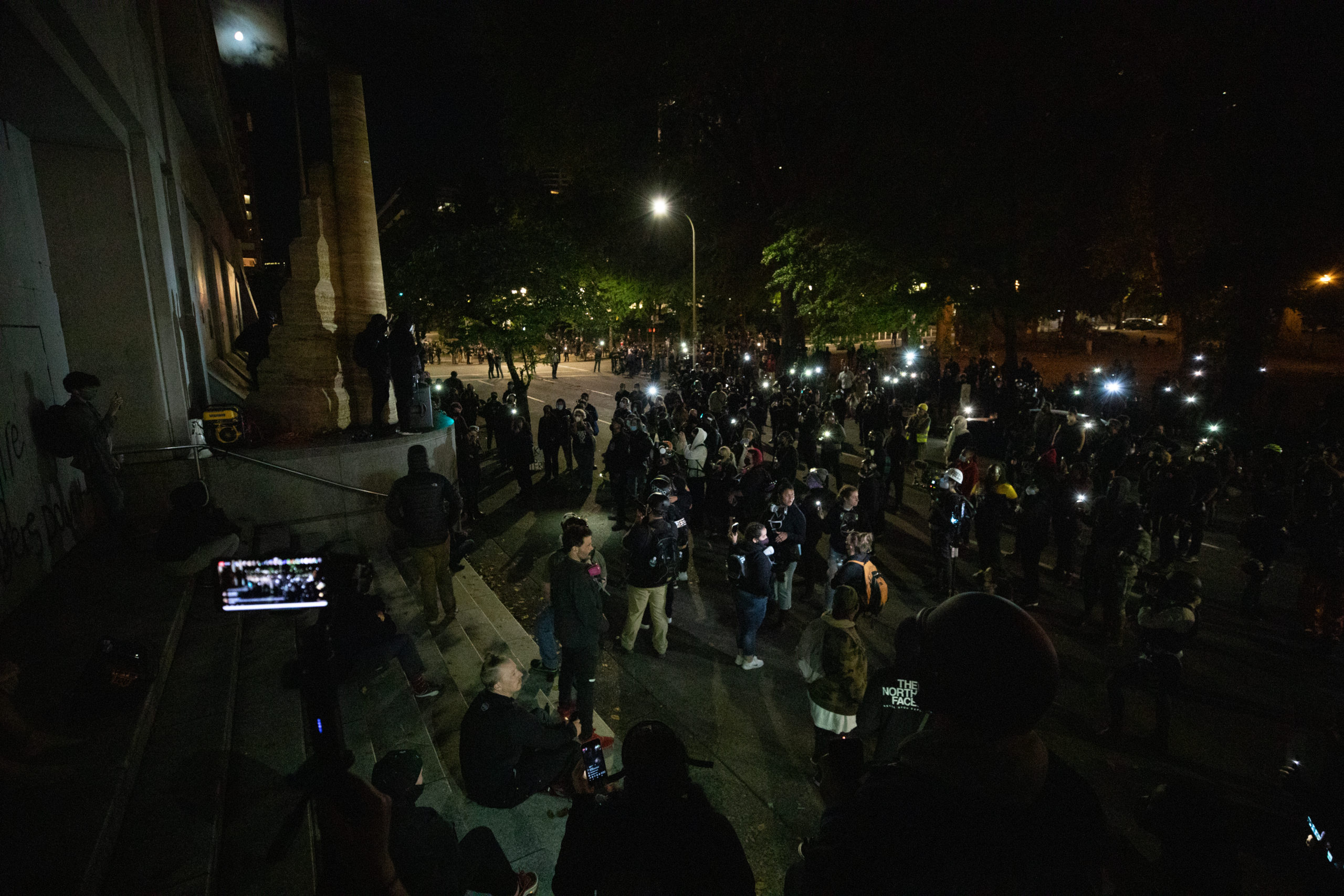 Protesters gather outside the Portland Police Bureau building on Sept. 26, 2020. (Photo: Kaylee Greenlee / DCNF)