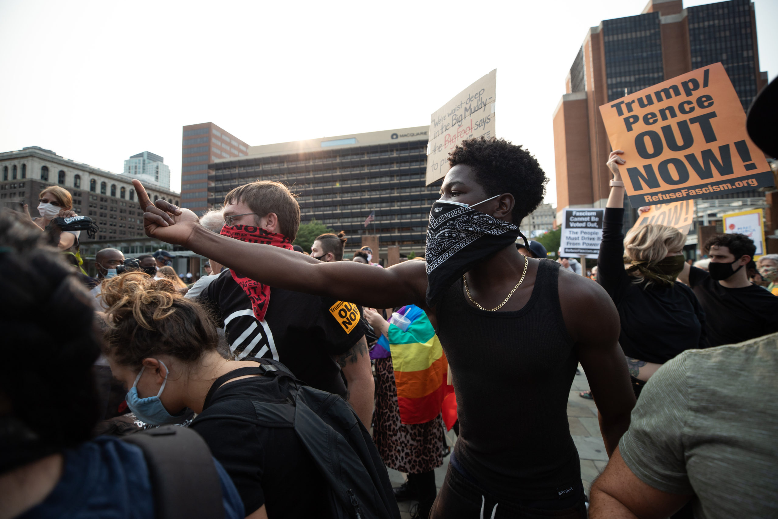 A protester flashes his middle finger at Trump supporters in Philadelphia, Pennsylvania on Sept. 15, 2020. (Photo: Kaylee Greenlee / DCNF)