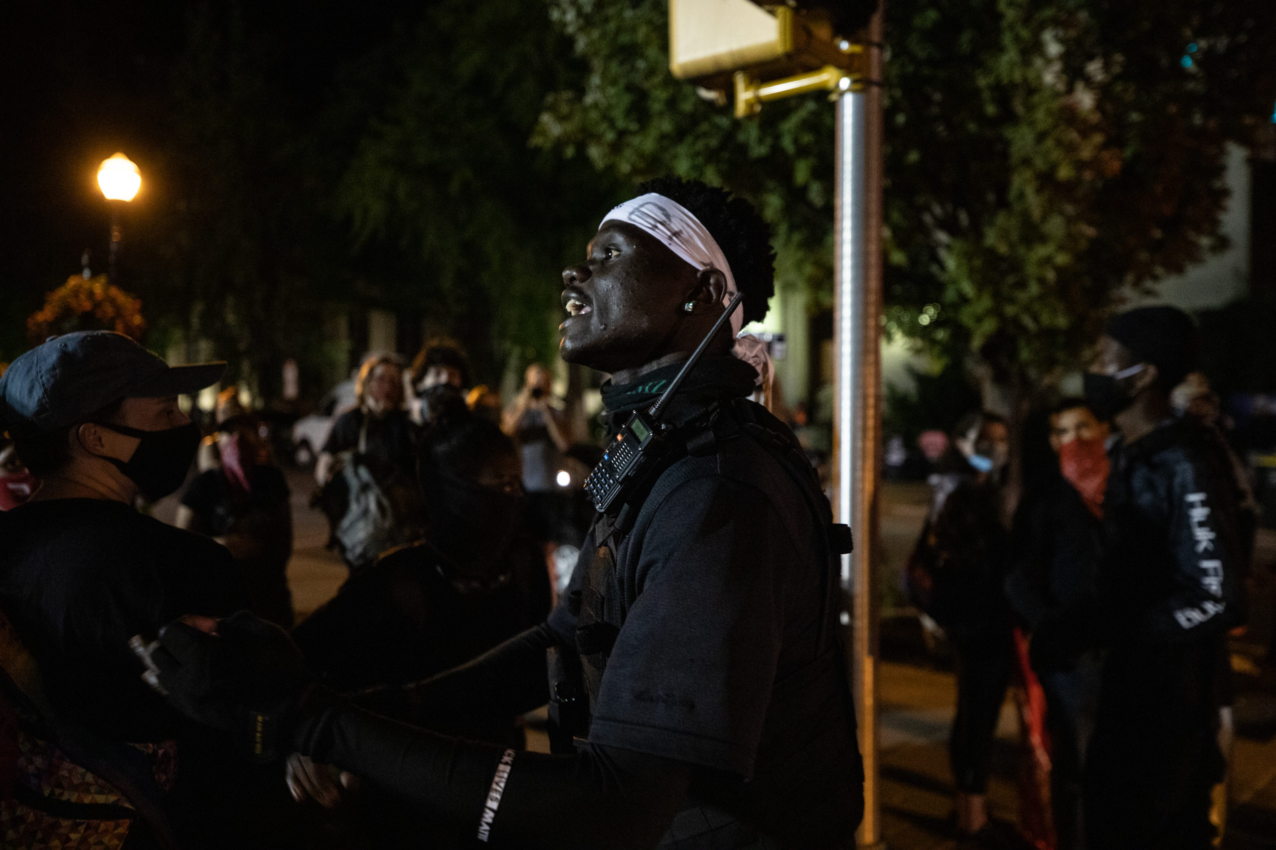 A man addressed a group of protesters in Lancaster, Pennsylvania on Monday night. (Photo - Kaylee Greenlee / Daily Caller News Foundation)