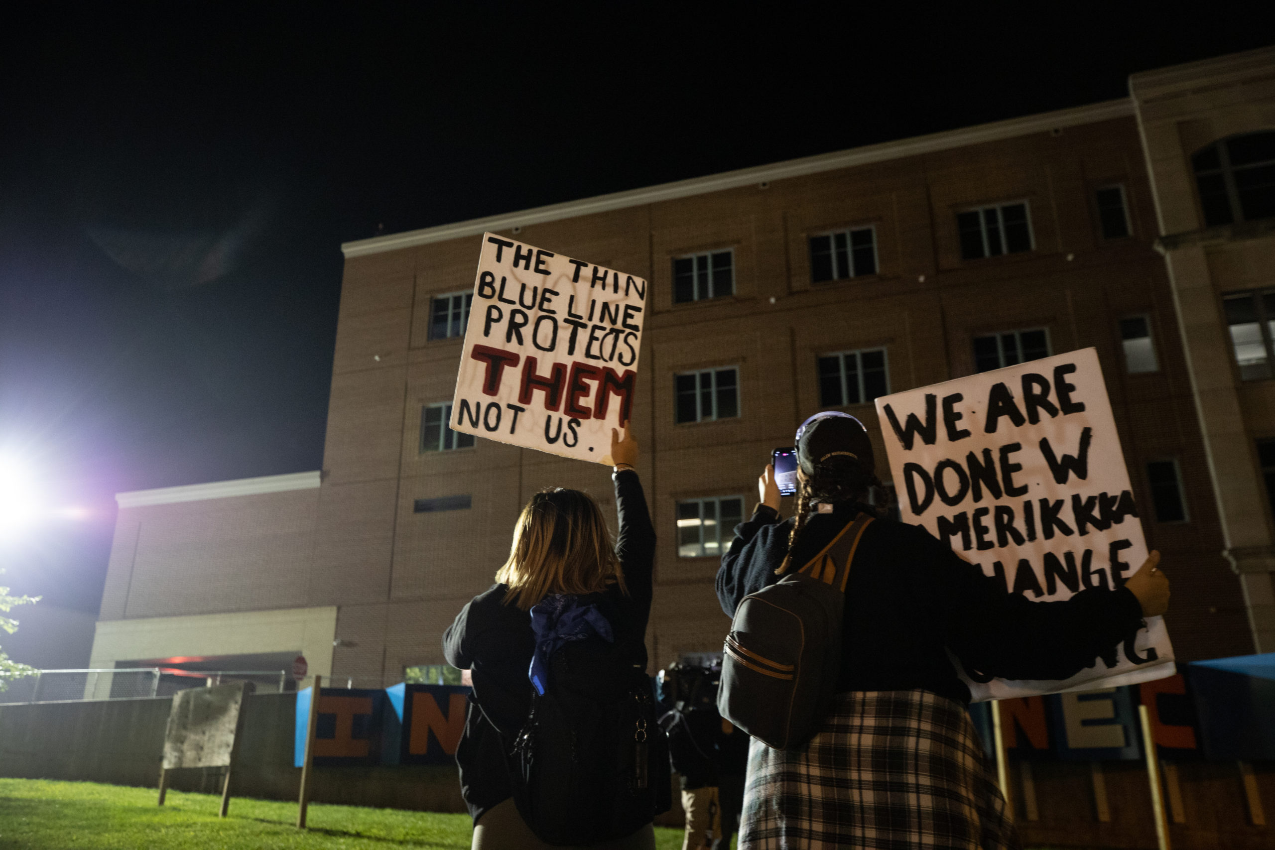 Protesters hold signs and chant anti-police rhetoric at the Lancaster Bureau of Police building. (Photo - Kaylee Greenlee / Daily Caller News Foundation)