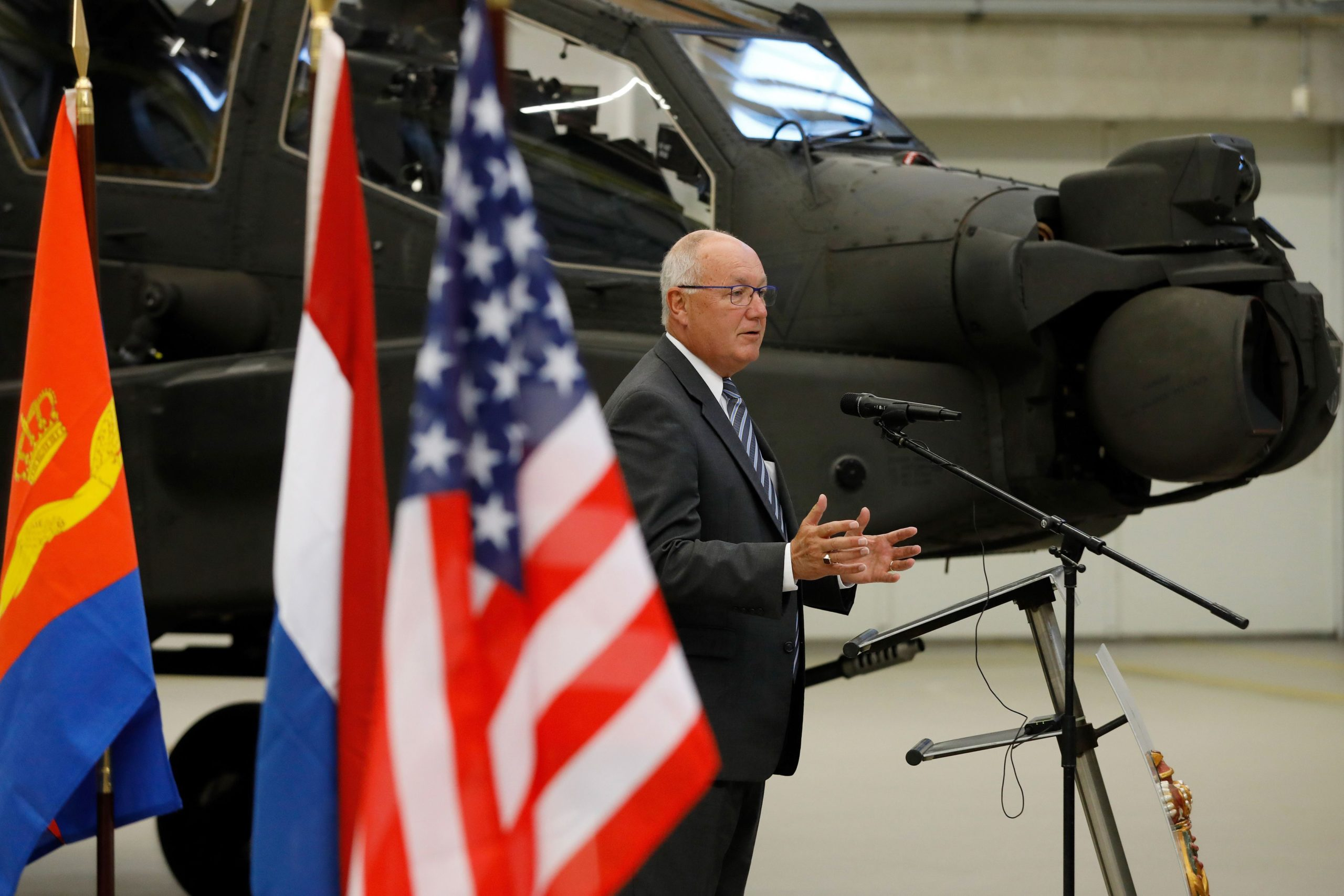 US ambassador Pete Hoekstra speaks at airbase Gilze-Rijen during a signing ceremony for the upgrate of 28 Apache helicopters of the Royal Airforce at Gilze Rijen, on September 14, 2018. (Photo by Bas CZERWINSKI / ANP / AFP) / Netherlands OUT (Photo credit should read BAS CZERWINSKI/AFP via Getty Images)
