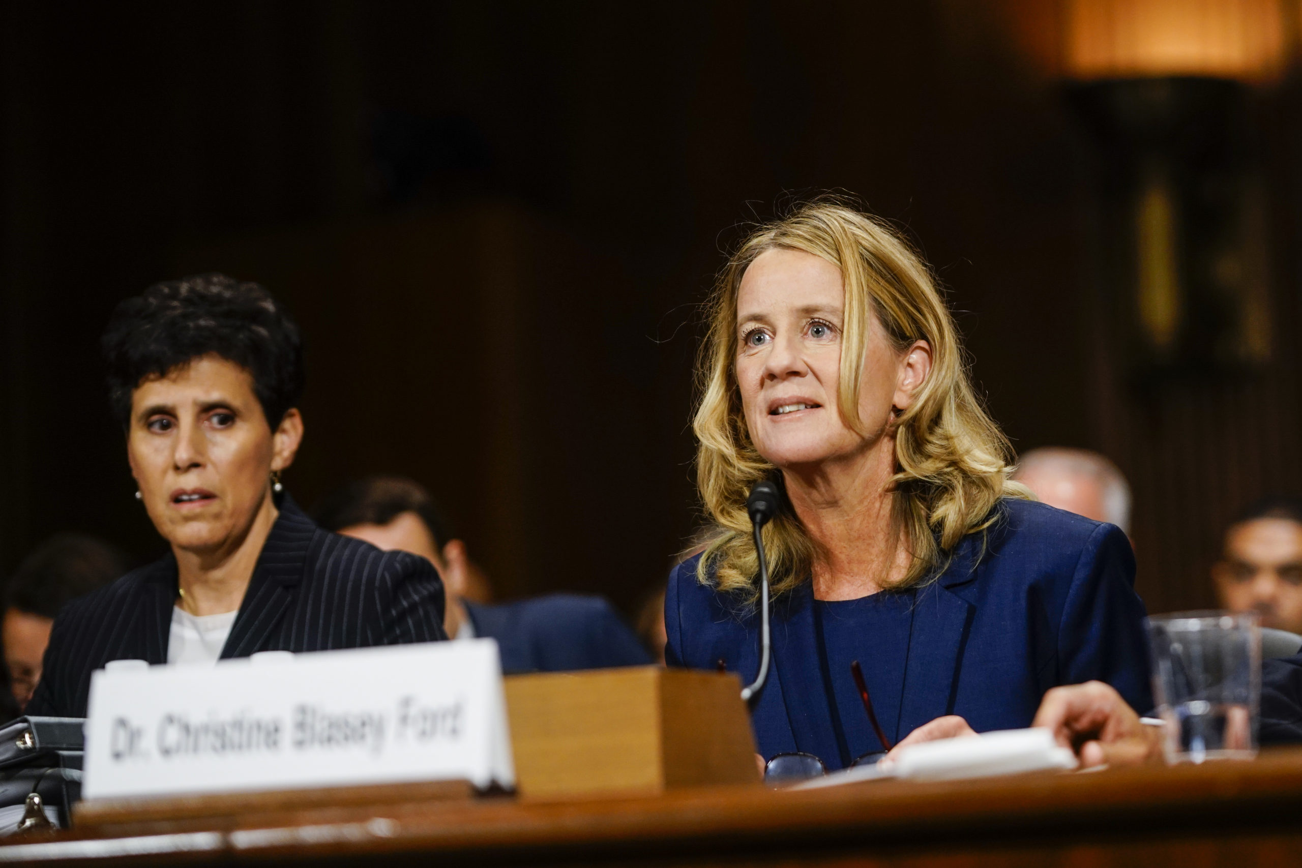 Christine Blasey Ford, with lawyer Debra S. Katz, left, answers questions at a Senate Judiciary Committee hearing on Thursday, September 27, 2018 on Capitol Hill. (Melina Mara-Pool/Getty Images)