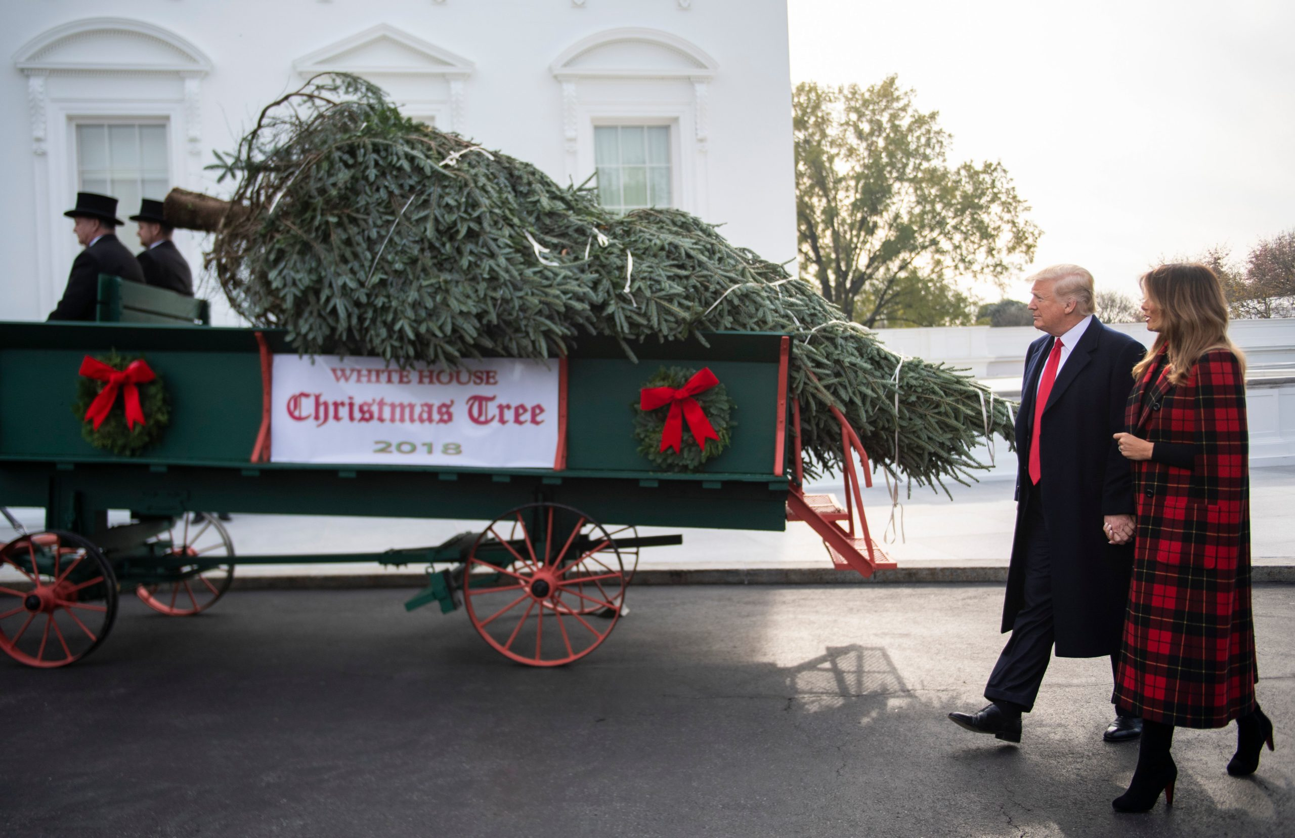 US President Donald Trump and First Lady Melania Trump participate in the White House Christmas Tree delivery at the White House in Washington, DC, on November 19, 2018. (Jim WATSON / AFP) (Photo credit should read JIM WATSON/AFP via Getty Images)