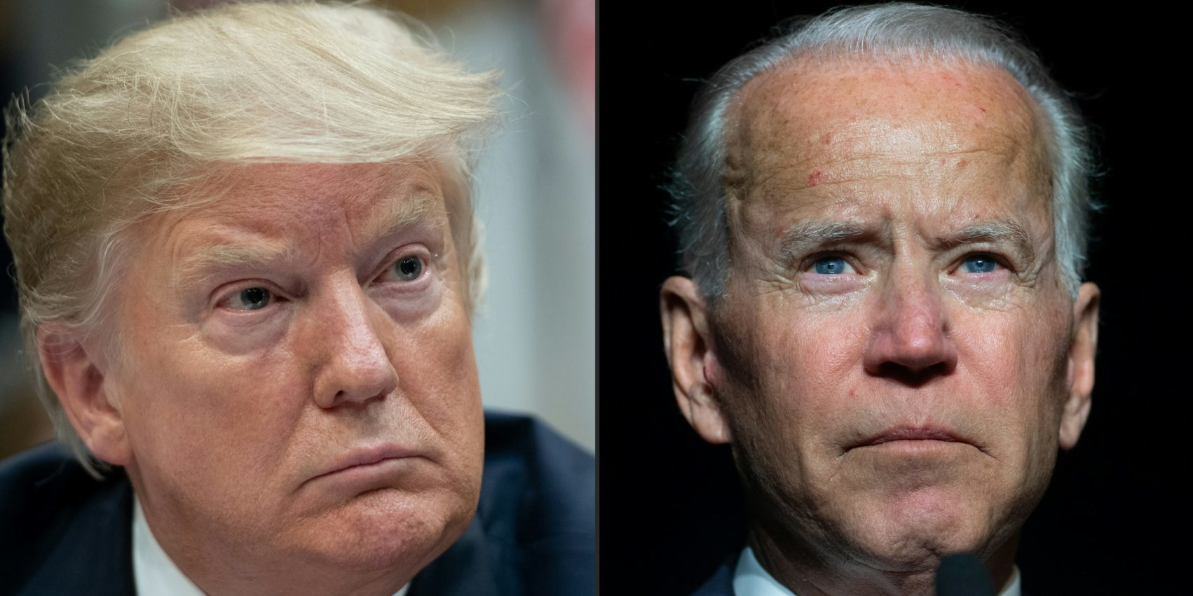 This combination of pictures created on March 18, 2019 shows (l-r) US President Donald Trump listens during a meeting on drug trafficking on the Southern Border of the US in the Roosevelt Room of the White House in Washington, DC, March 13, 2019, former US Vice President Joe Biden speaks during the First State Democratic Dinner in Dover, Delaware, on March 16, 2019 (SAUL LOEB,JIM WATSON/AFP via Getty Images)
