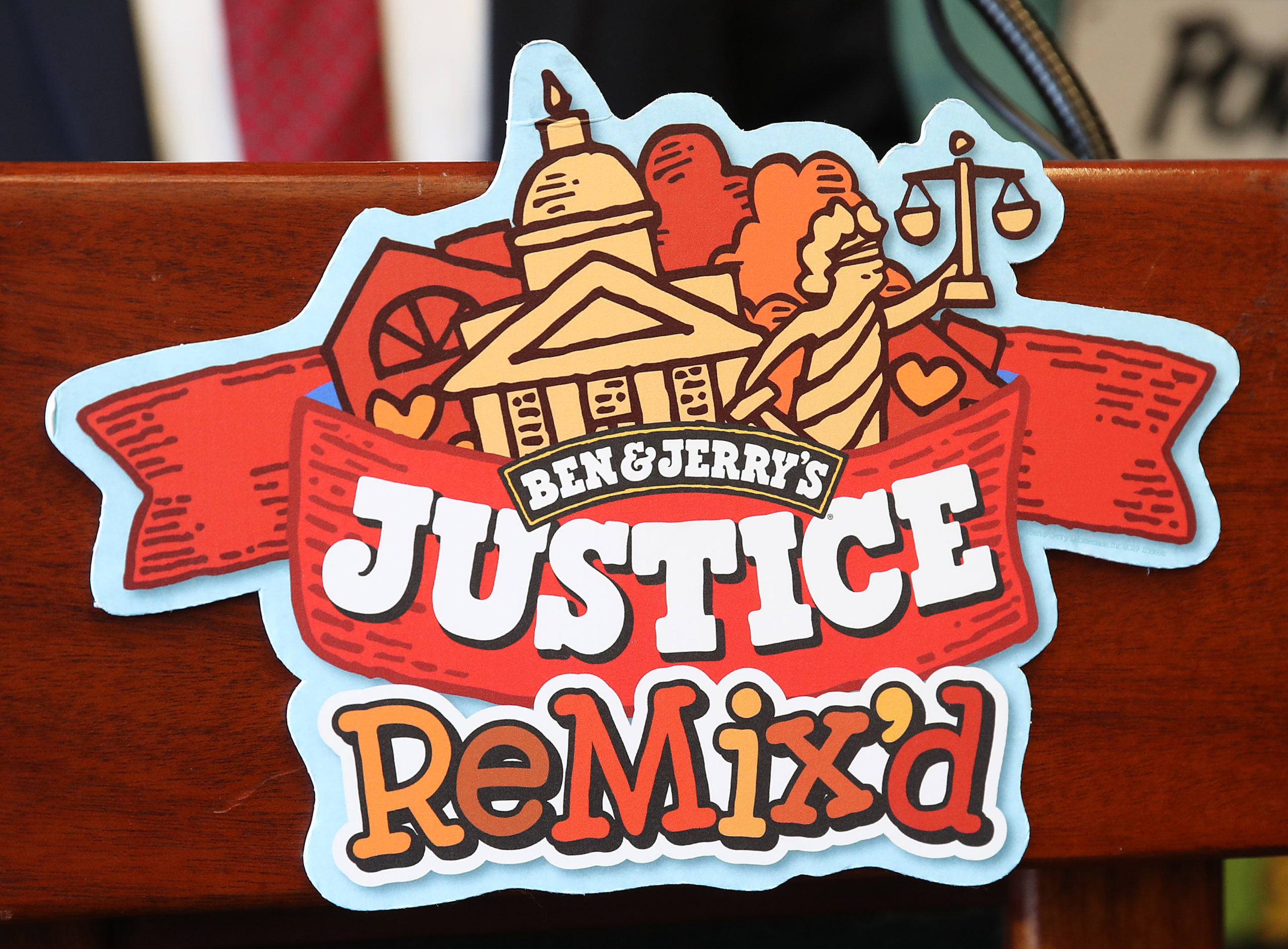 """WASHINGTON, DC - SEPTEMBER 03: Ben & Jerry's announced a new flavor, Justice Remix'd, at a press conference September 03, 2019 in Washington, DC. Ben & Jerry's launched the new flavor in conjunction with the civil rights organization, Advancement Project, to """"spotlight structural racism in a broken criminal legal system"""". (Photo by Win McNamee/Getty Images)"""