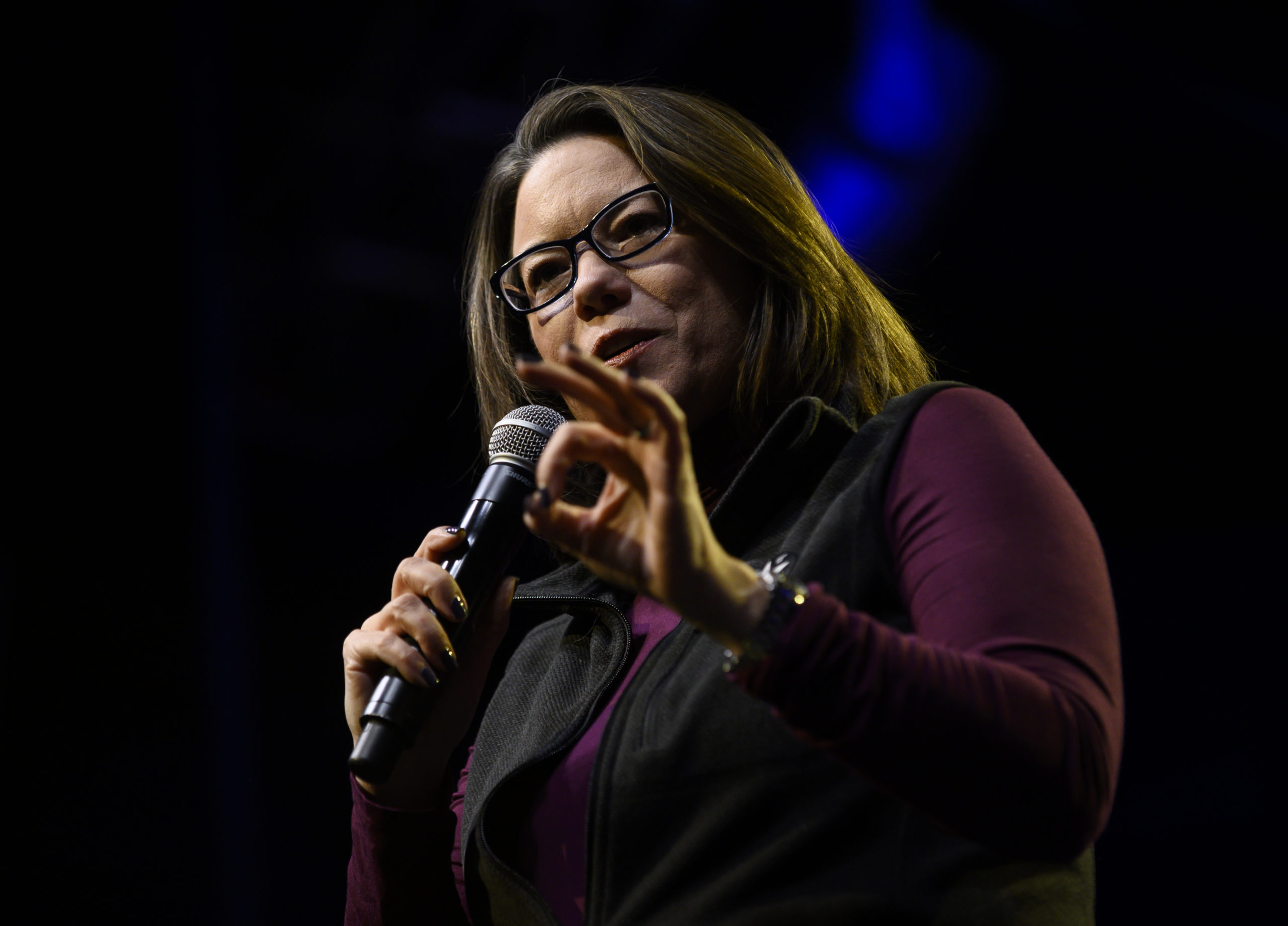 U.S. Rep. Angie Craig (D-MN) speaks in support of Democratic presidential candidate Sen. Amy Klobuchar (D-MN) during a campaign rally at First Avenue on January 17, 2020 in Minneapolis, Minnesota. (Stephen Maturen/Getty Images)