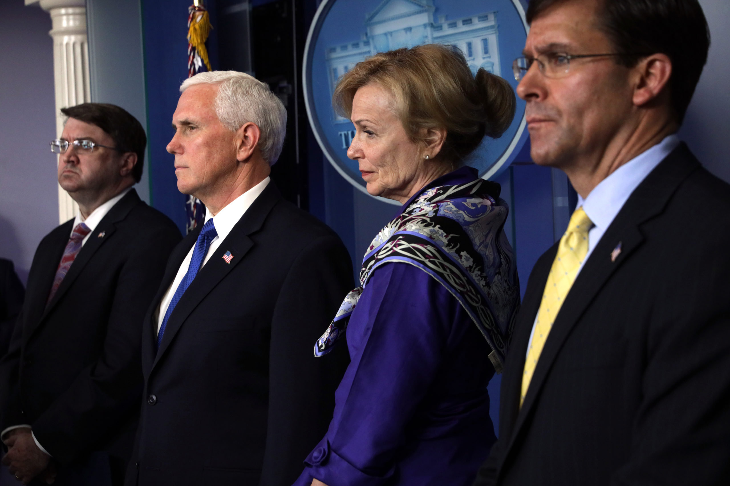 WASHINGTON, DC - MARCH 18: (L-R) U.S. Secretary of Veterans Affairs Robert Wilkie, Vice President Mike Pence, White House Coronavirus Response Coordinator Deborah Birx, and Secretary of Defense Mark Esper listen during a news briefing on the latest development of the coronavirus outbreak in the U.S. at the James Brady Press Briefing Room at the White House March 18, 2020 in Washington, DC. President Trump announced on Twitter that the U.S. and Canada will close their border to non-essential traffic to try and stop the spread of the COVID-19 pandemic. (Photo by Alex Wong/Getty Images)