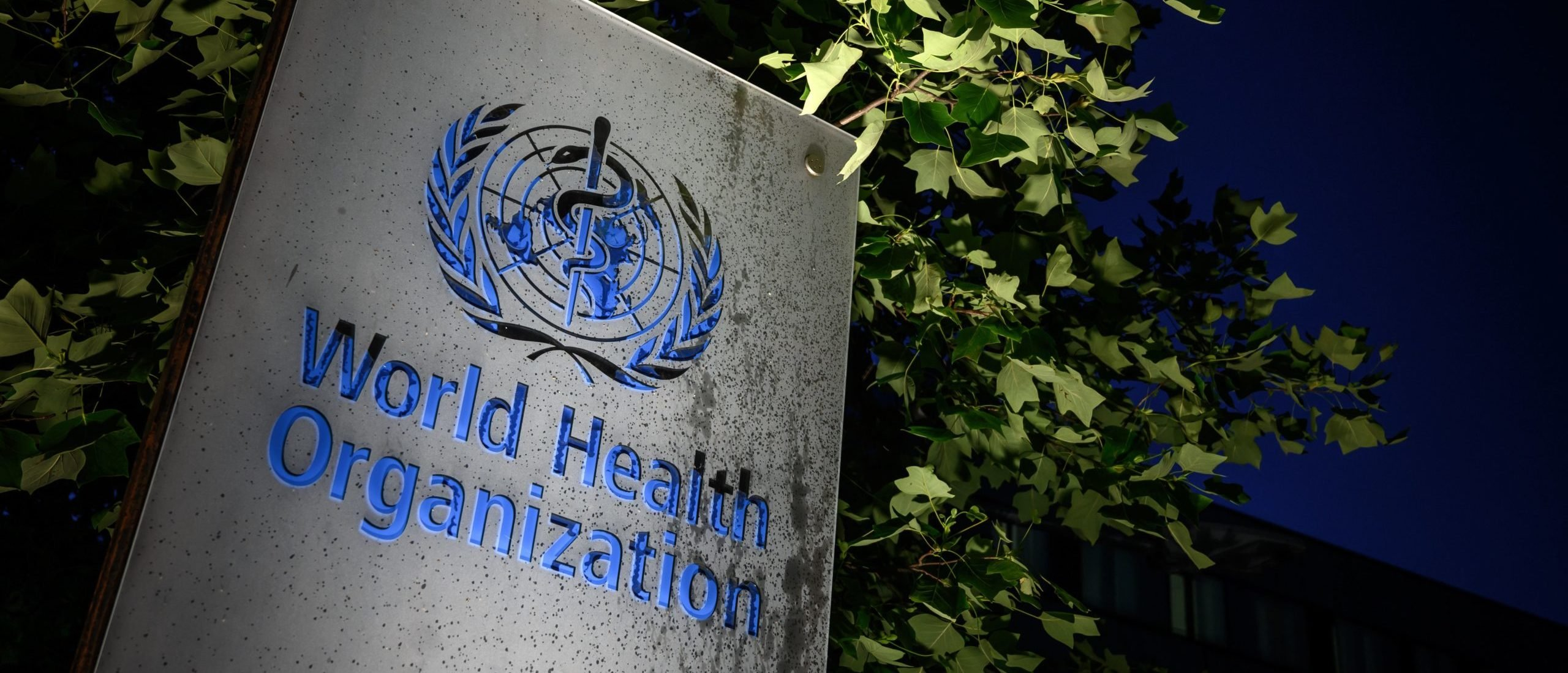 TOPSHOT - A photo taken in the late hours of May 29, 2020 shows a sign of the World Health Organization (WHO) at their headquarters in Geneva amid the COVID-19 outbreak, caused by the novel coronavirus. - President Donald Trump said May 29, 2020, he was breaking off US ties with the World Health Organization, which he says failed to do enough to combat the initial spread of the novel coronavirus. (Photo by Fabrice COFFRINI / AFP) (Photo by FABRICE COFFRINI/AFP via Getty Images)