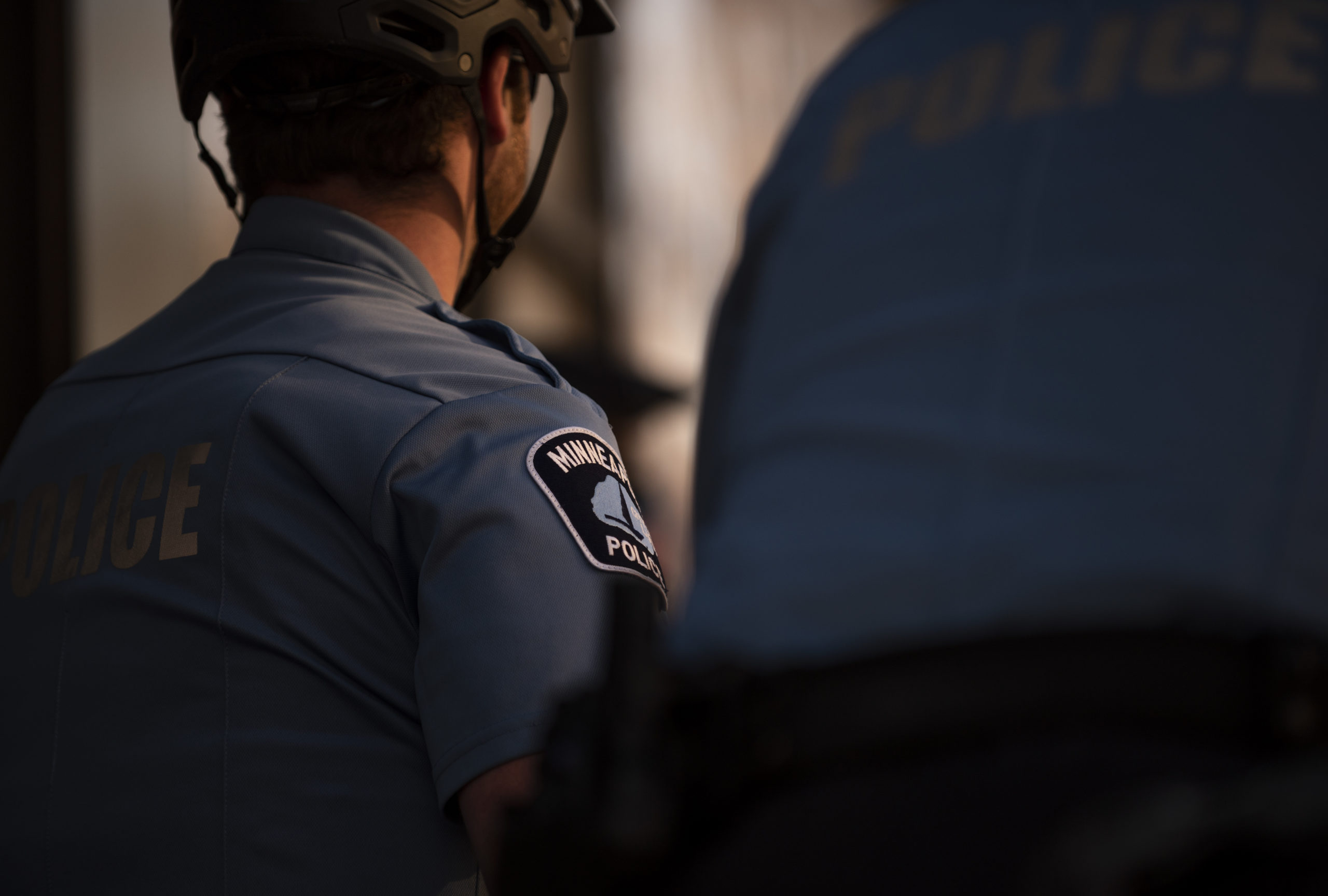 Members of the Minneapolis Police Department monitor a protest on June 11, 2020 in Minneapolis, Minnesota. The MPD has been under scrutiny from residents and local city officials after the death of George Floyd in police custody on May 25. (Photo by Stephen Maturen/Getty Images)