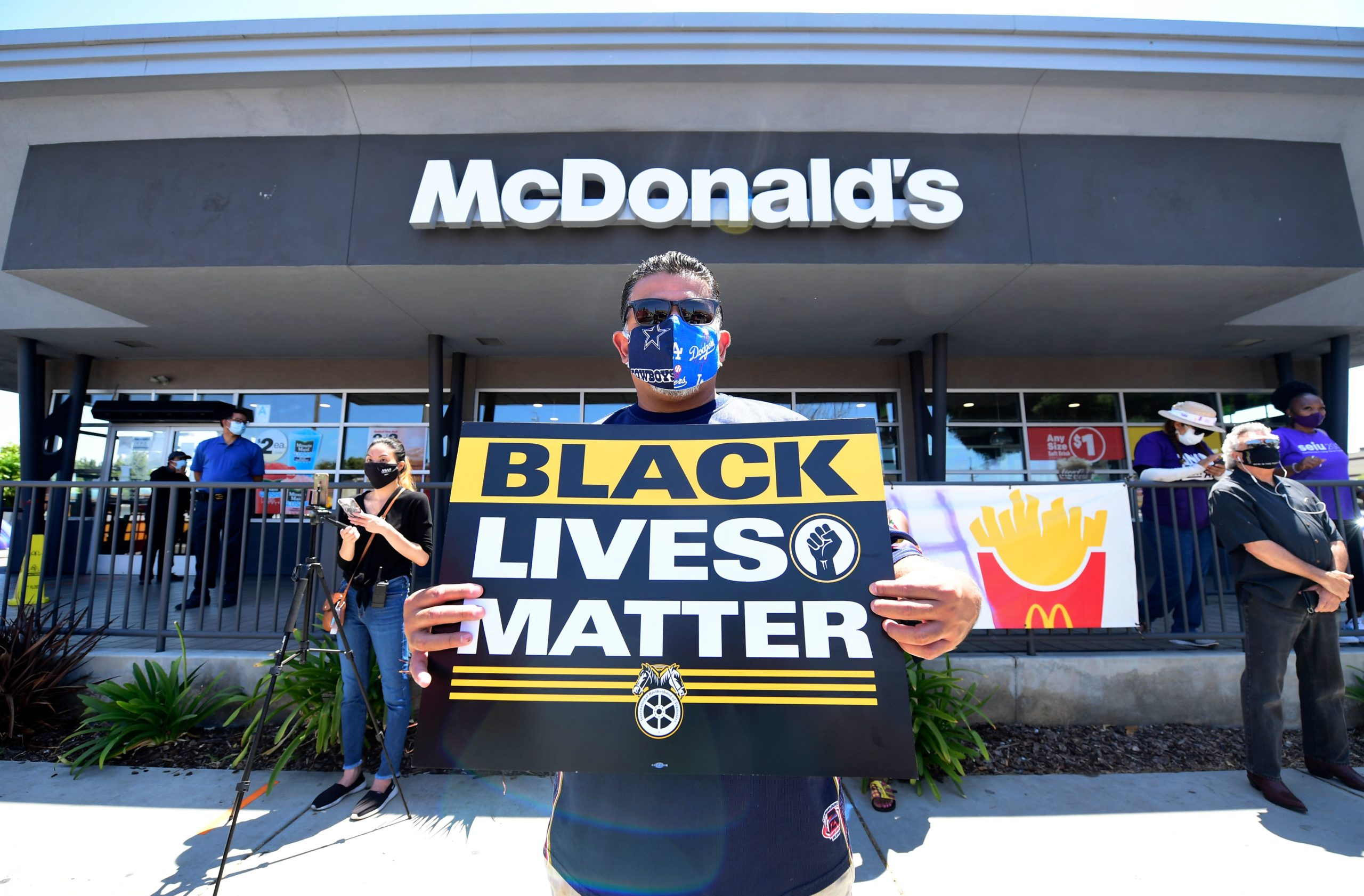 Activists protest in front of a McDonalds in Los Angeles, California, on July 20, 2020 during a Strike For Black Lives rally. (Frederic J. Brown/AFP via Getty Images)