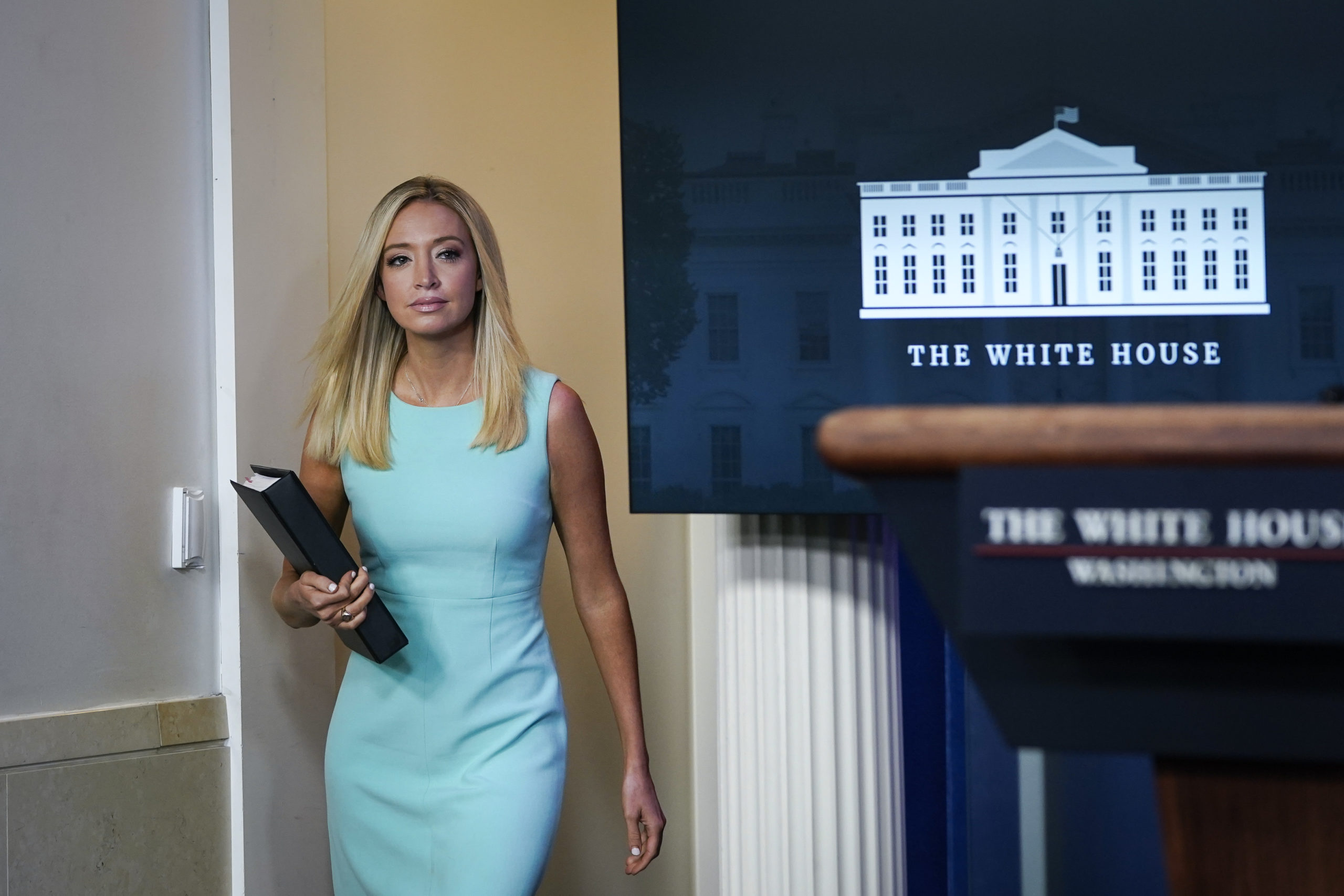WASHINGTON, DC - SEPTEMBER 04: White House Press Secretary Kayleigh McEnany arrives for a press briefing at the White House on September 4, 2020 in Washington, DC. Administration officials also discussed a U.S. led agreement between Serbia and Kosovo that attempts to normalize economic relations between the two countries. (Photo by Drew Angerer/Getty Images)
