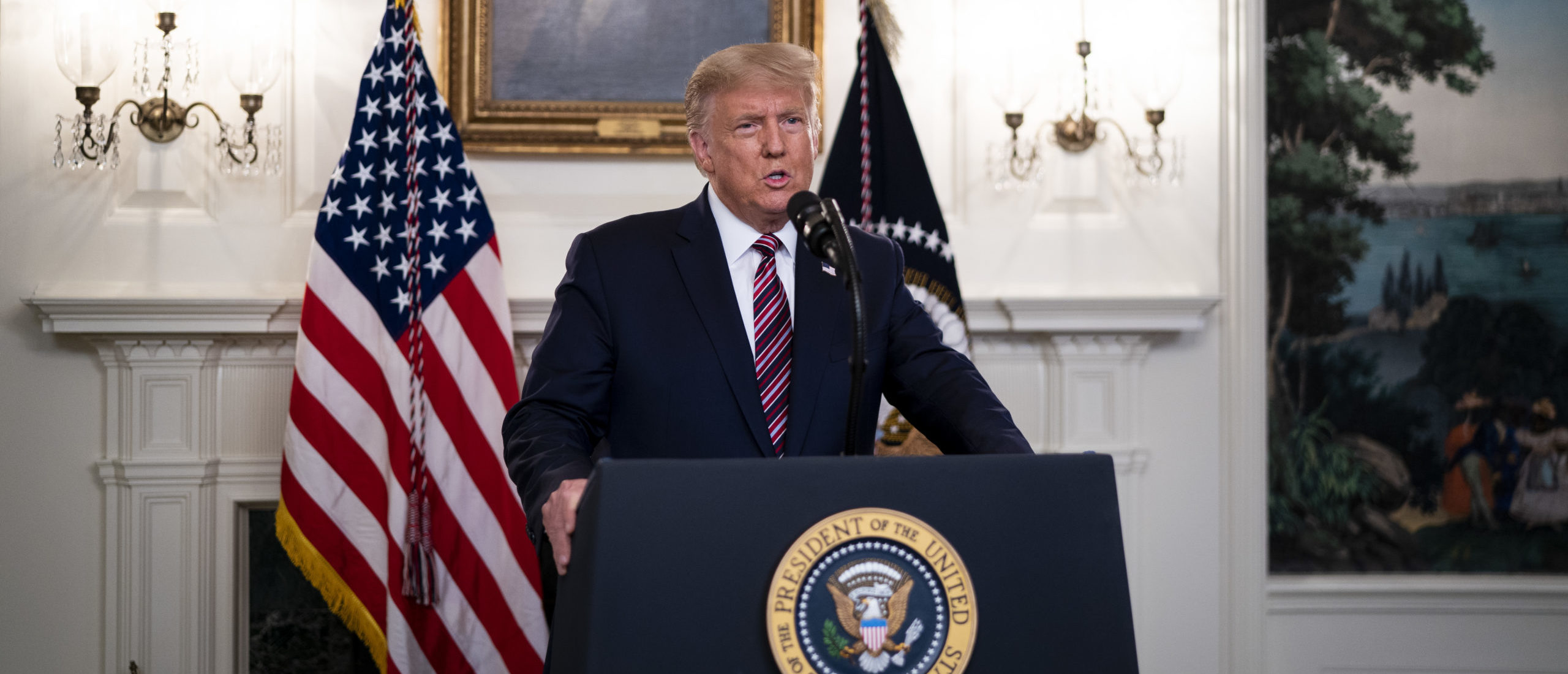WASHINGTON, DC - SEPTEMBER 09: U.S. President Donald Trump reveals his list of potential Supreme Court nominees in the Diplomatic Reception Room of the White House on September 9, 2020 in Washington, DC. Trump also fielded questions about the coronavirus and Bob Woodward's new book about him. (Photo by Doug Mills-Pool/Getty Images)