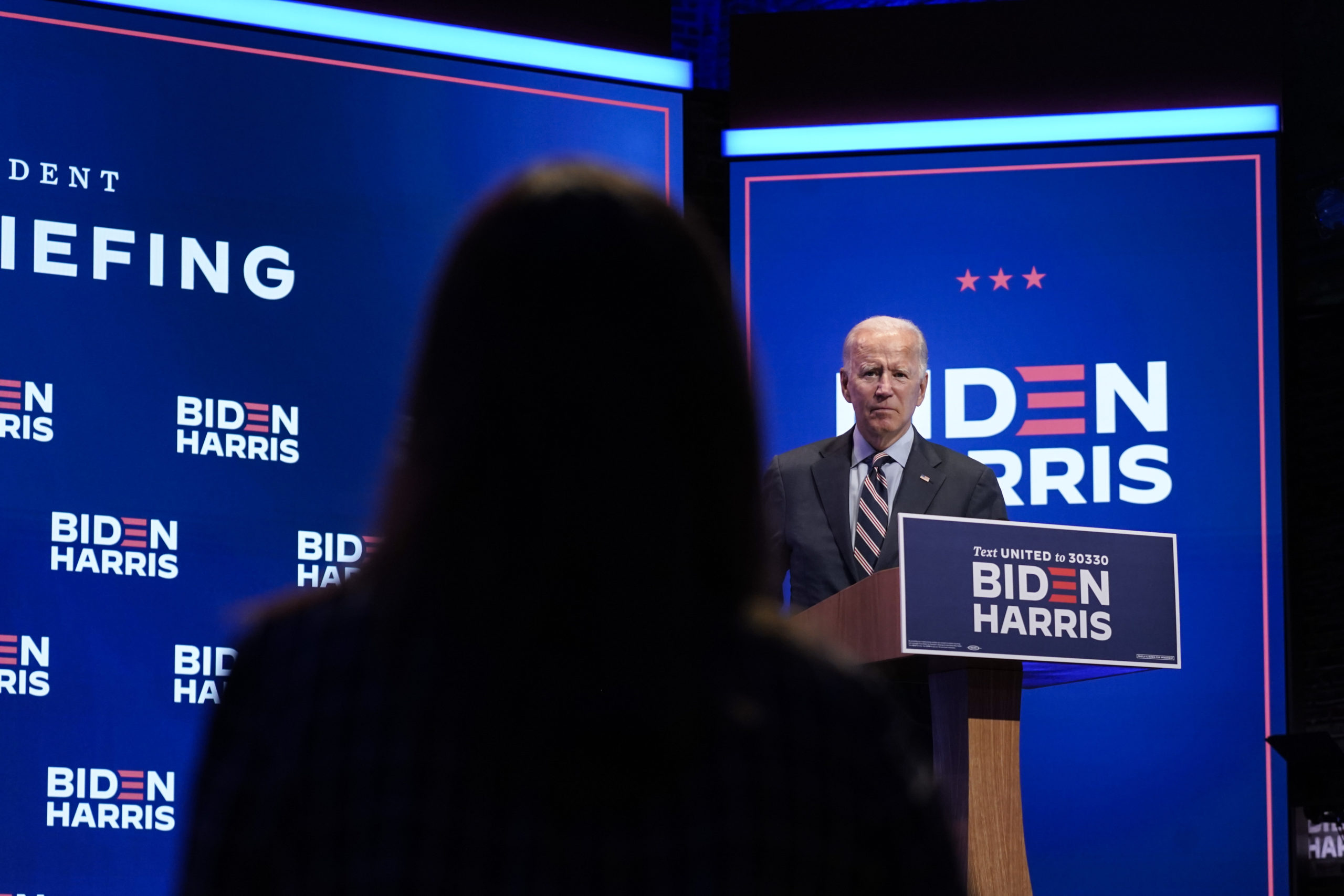 Democratic presidential nominee and former Vice President Joe Biden takes questions from reporters after a virtual coronavirus briefing with medical professionals on September 16, 2020 in Wilmington, Delaware. (Drew Angerer/Getty Images)