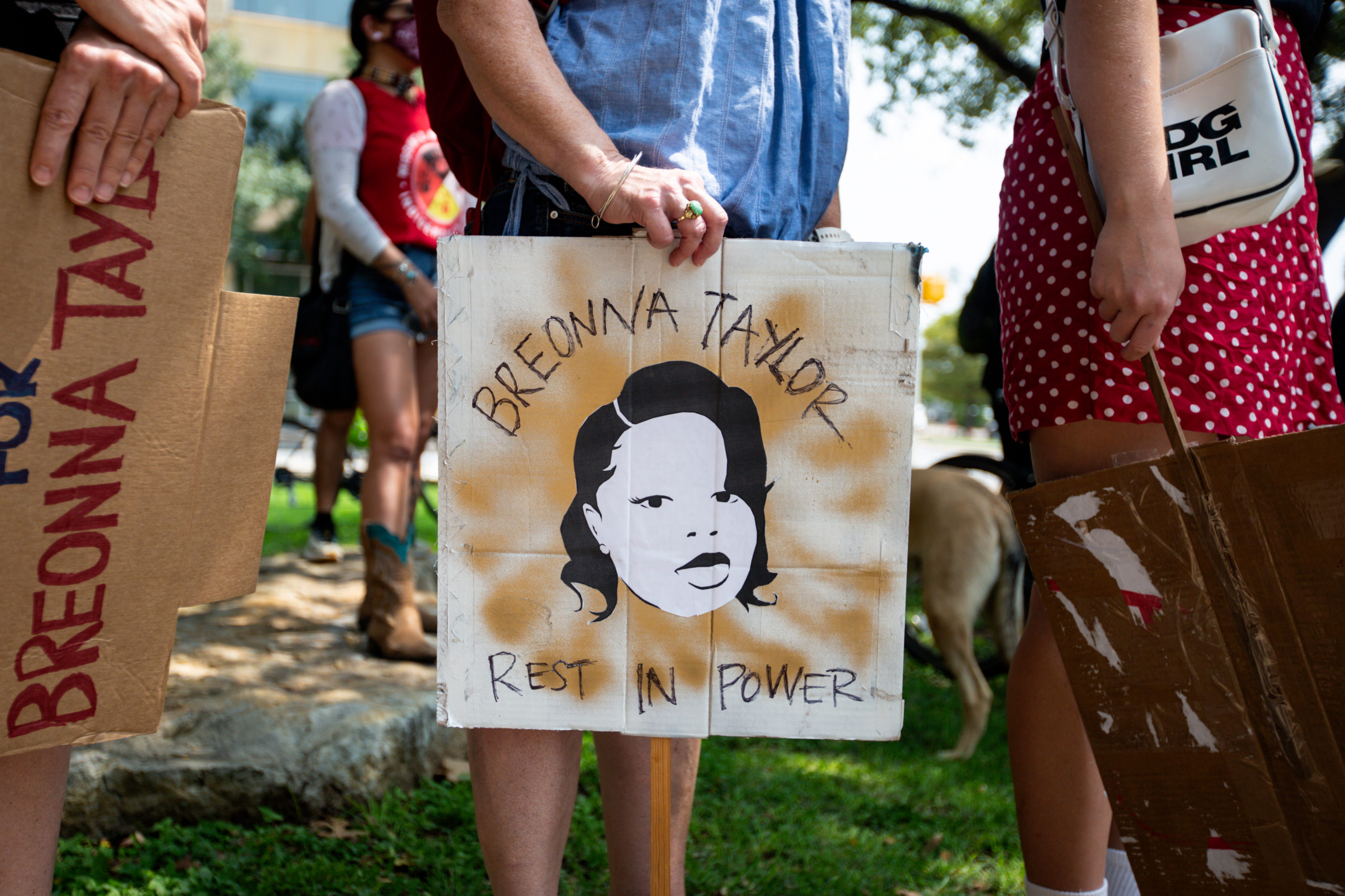 AUSTIN, TX - SEPTEMBER 19: Community members gathered for a Stand 4 Breonna event to demand justice for Breonna Taylor on September 19, 2020 in Austin, Texas. Taylor, 26, was killed by Louisville police officers as she slept in her apartment on March 13, 2020. (Photo by Montinique Monroe/Getty Images)